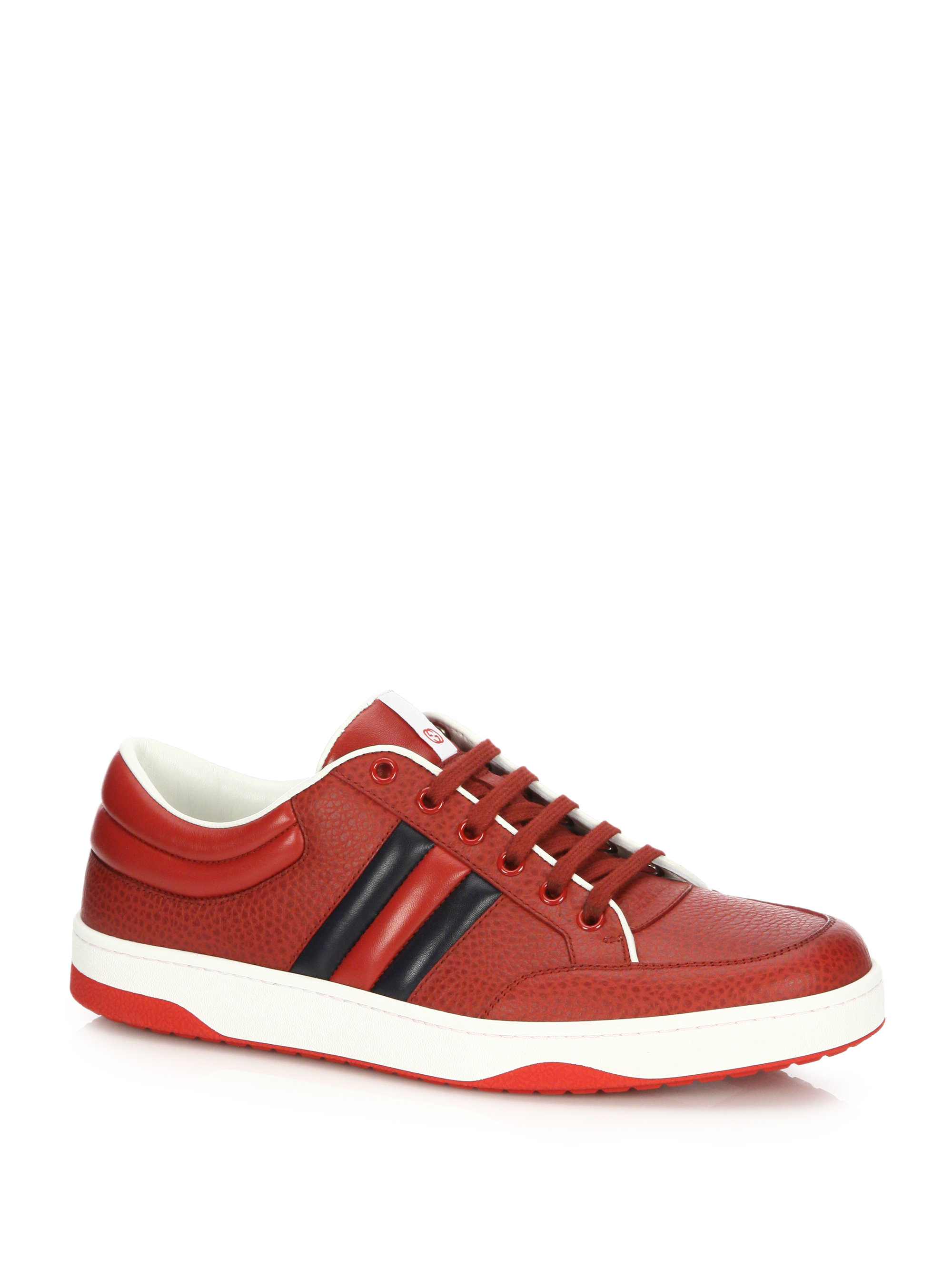 Lyst Gucci Ronnie Low Leather Sneakers In Red For Men