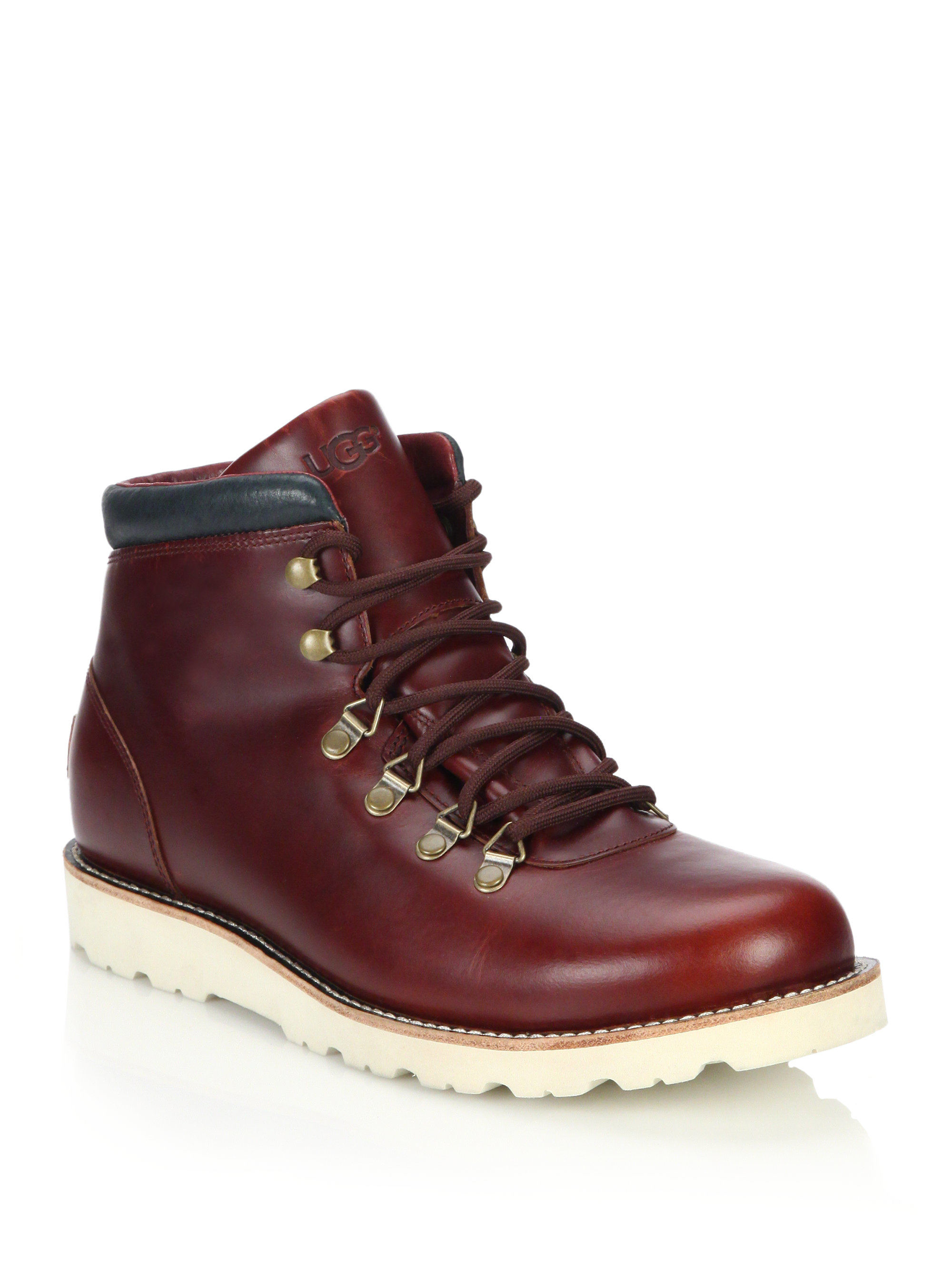 ugg boysen tl lace up leather boots in brown lyst