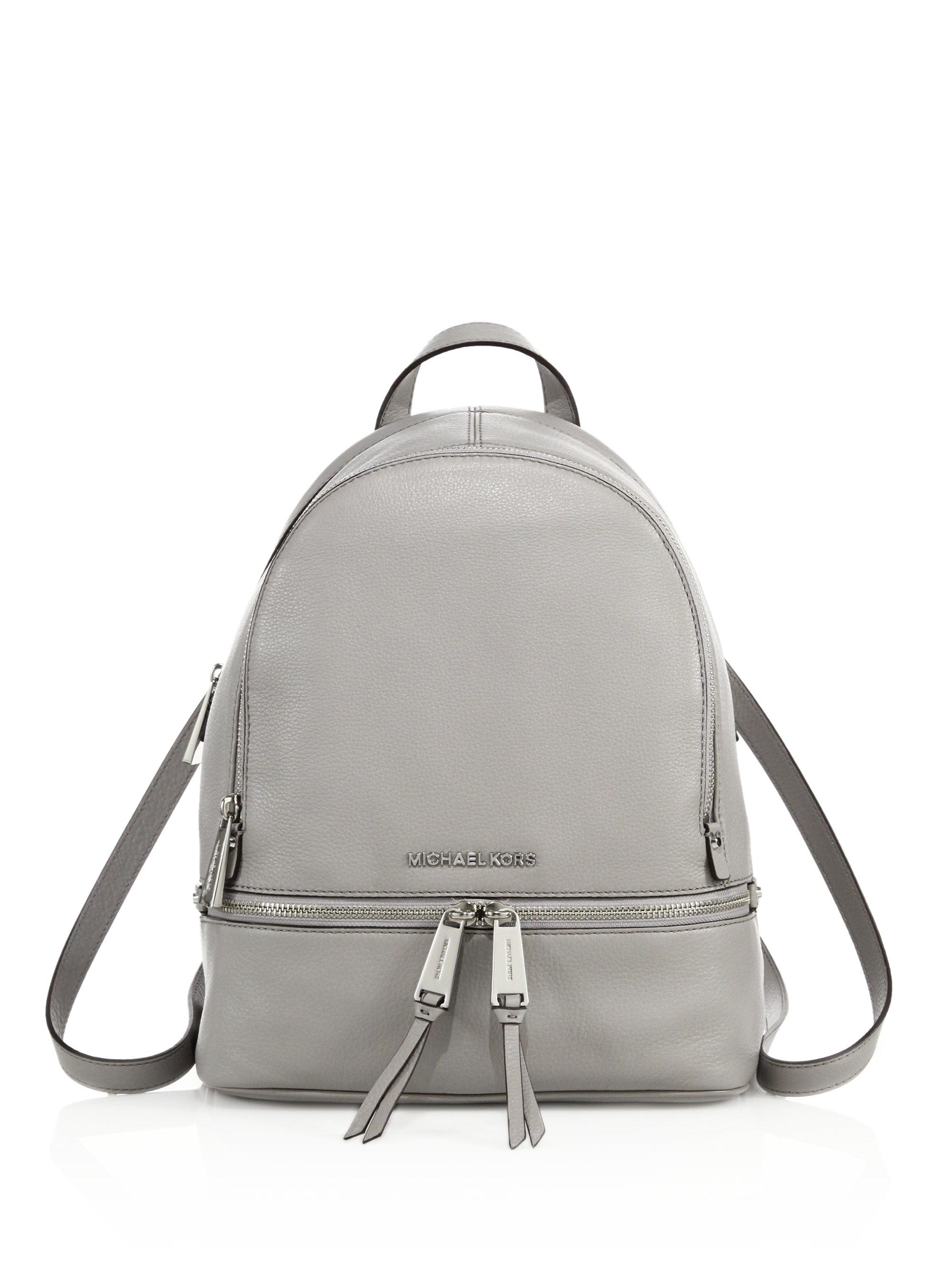Michael Michael Kors Small Leather Backpack In Gray Lyst