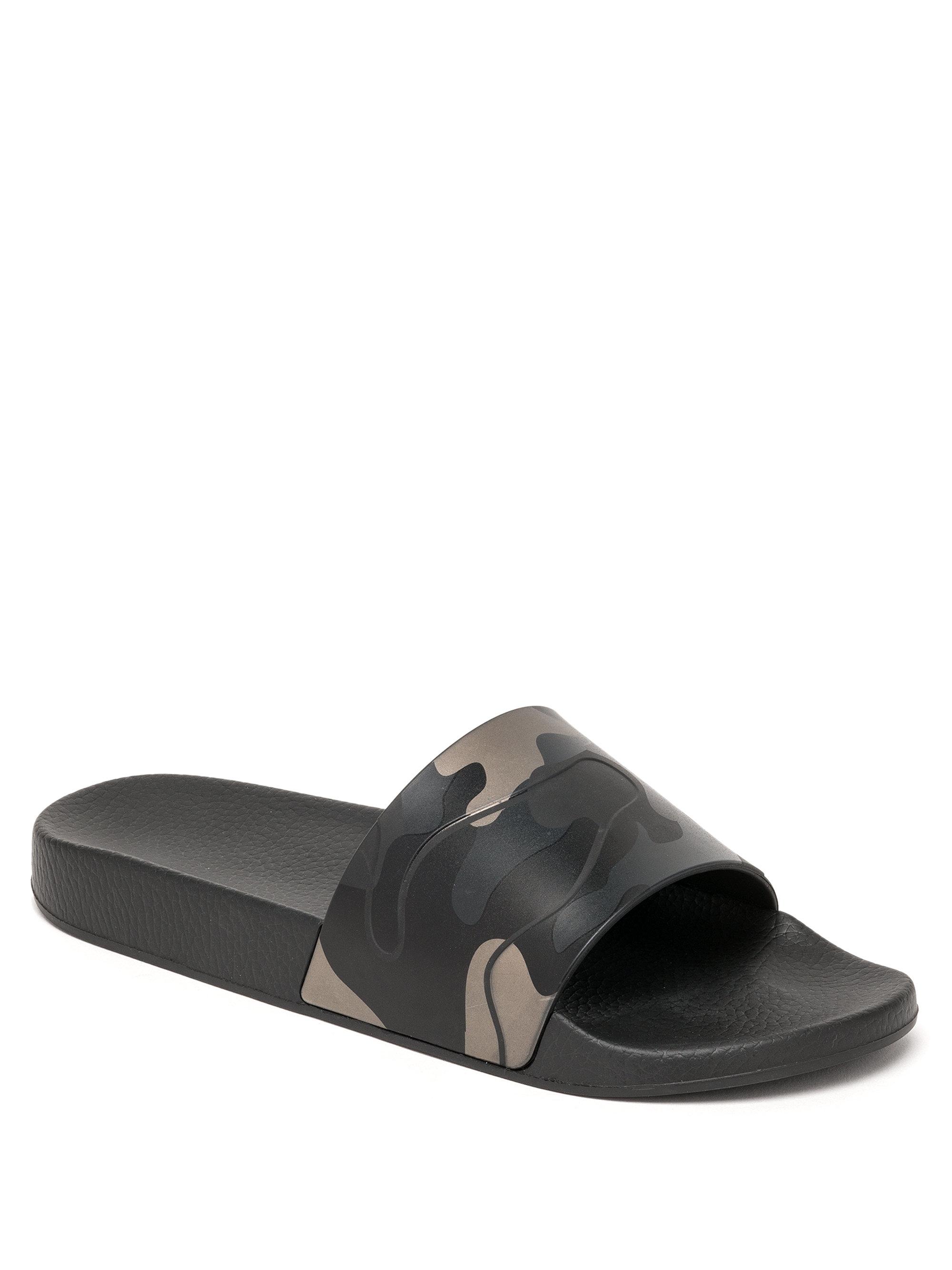 Rubber Rings For Men >> Valentino Camo Slide Sandals in Black for Men | Lyst