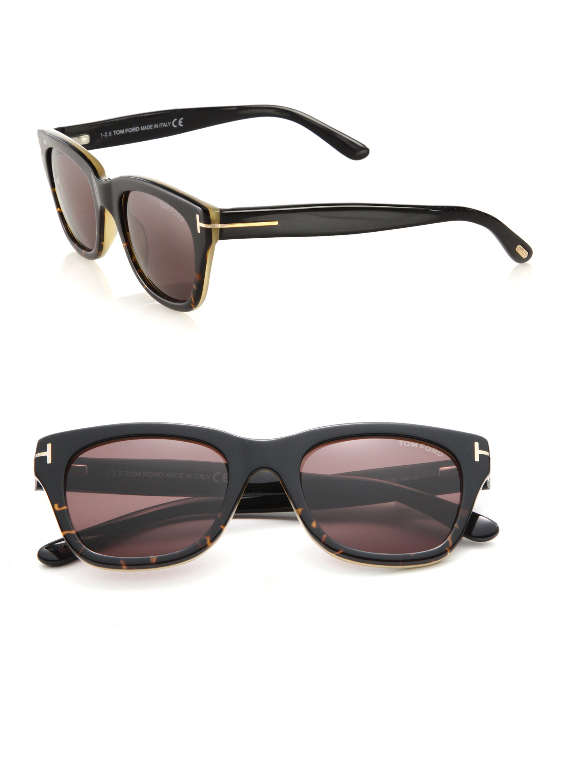 e32814555dea Lyst - Tom Ford Snowdon 52mm Rectangular Acetate Sunglasses in Black ...