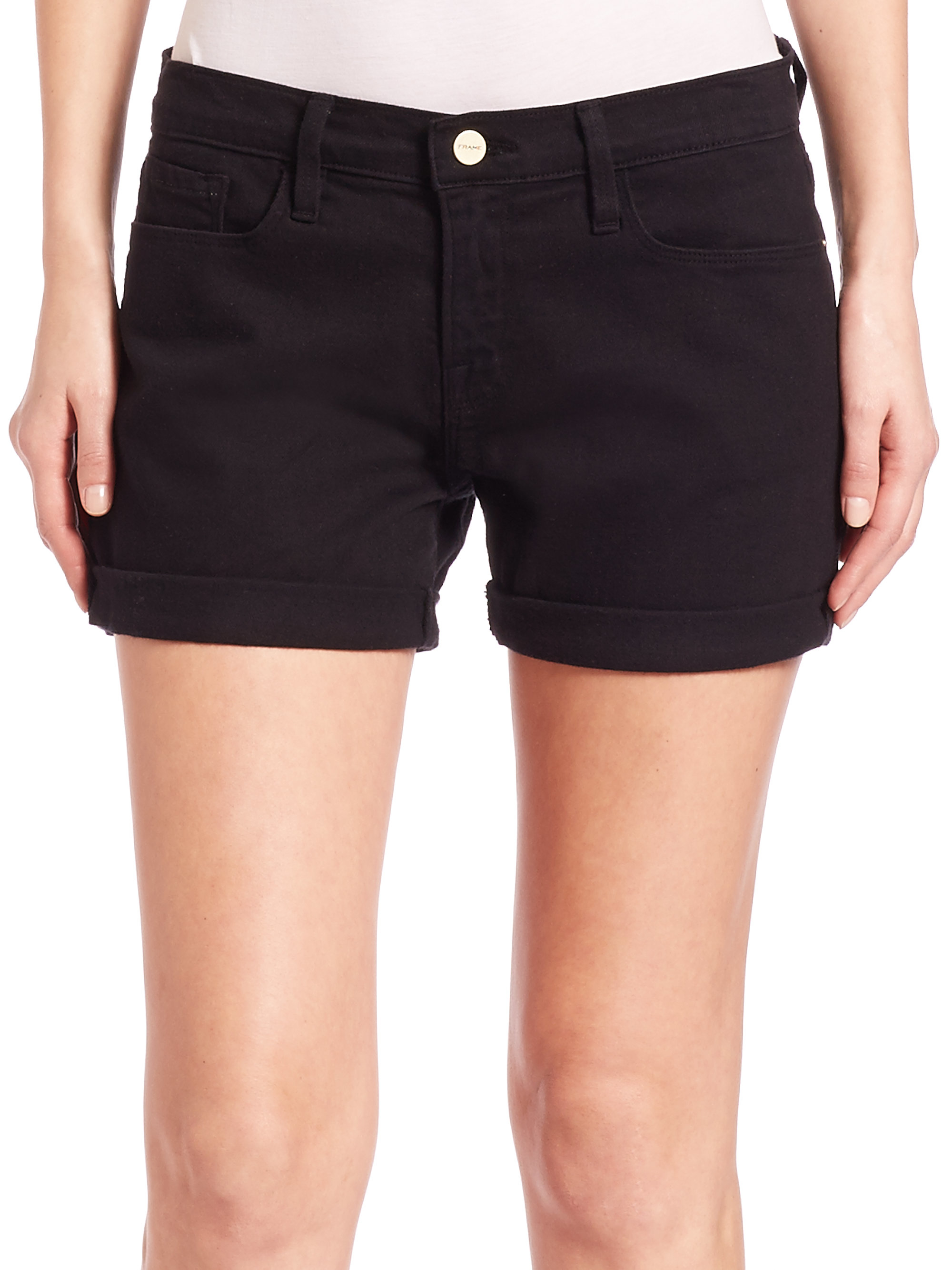 Frame Le Cutoff Denim Shorts in Black | Lyst