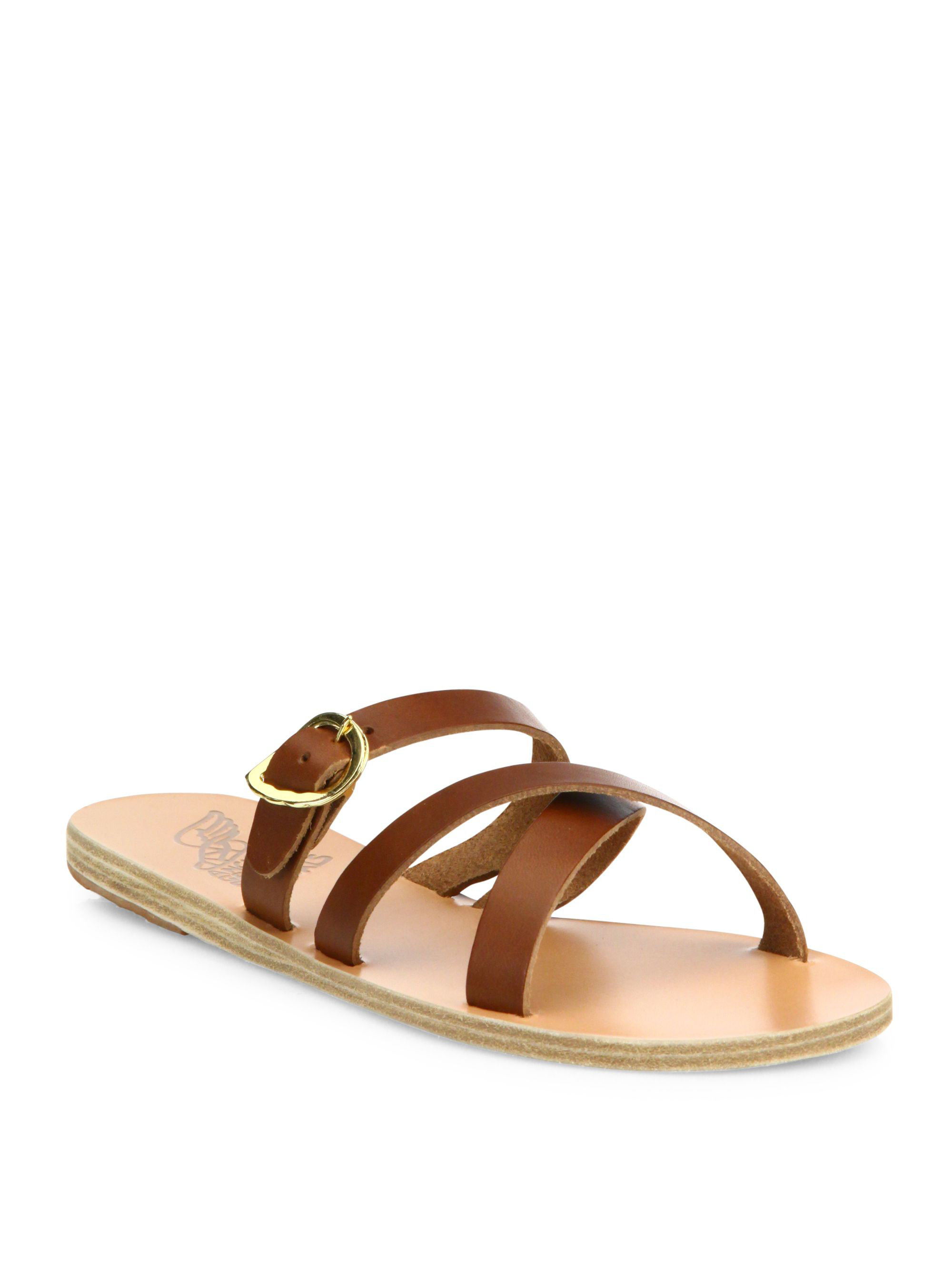 Ancient greek sandals Axia Leather Slides in Natural