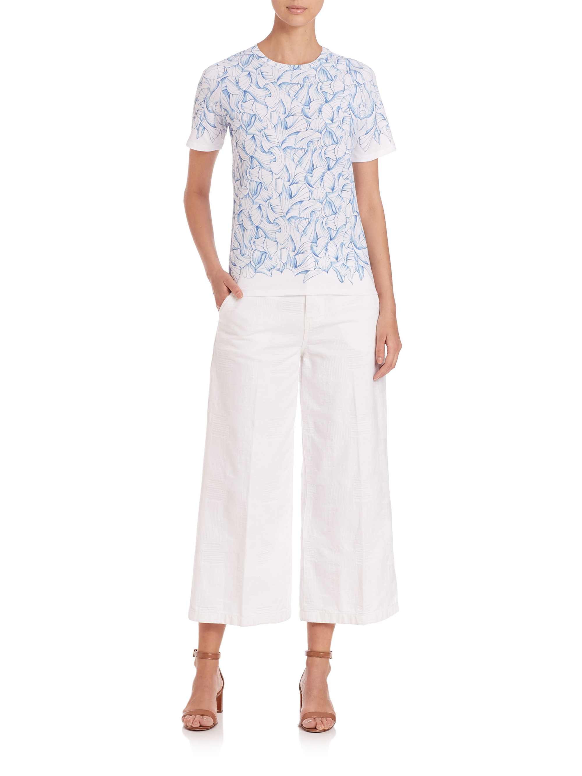 Tory burch jodie cropped culottes in white lyst for Tory burch fashion island