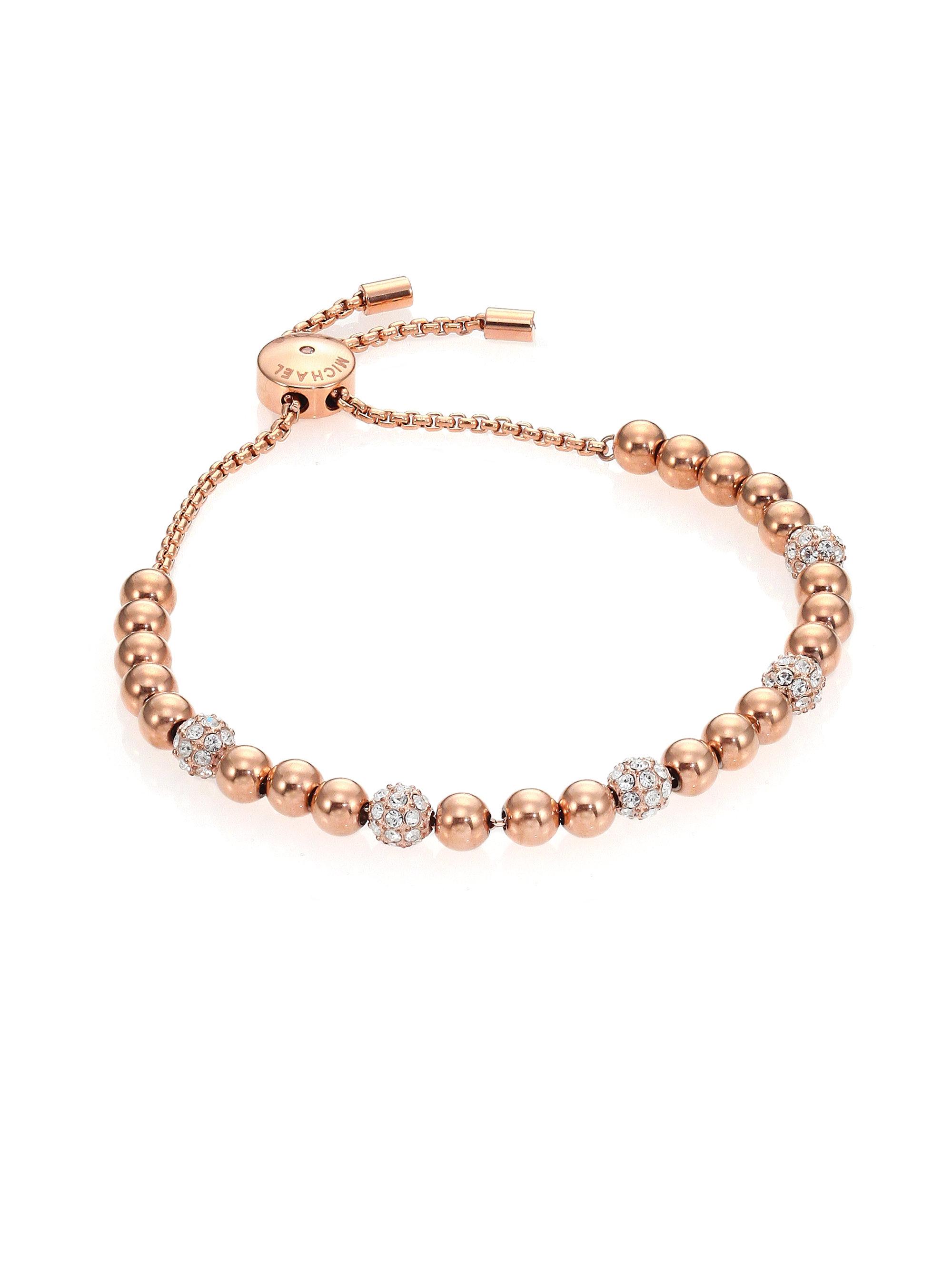 c807441c5efa1 Michael Kors Brilliance Pave Beaded Slide Bracelet/rose Goldtone in ...
