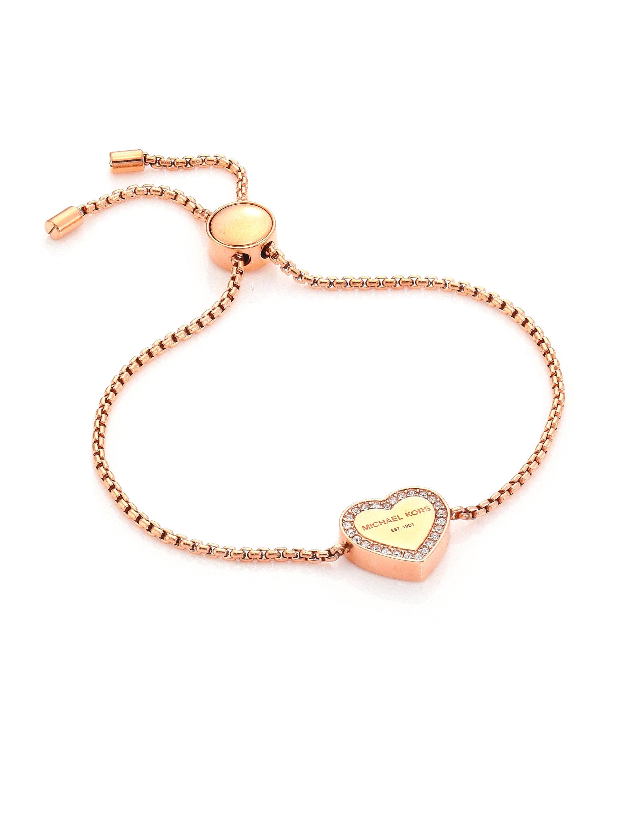 afb3132a5d25 Lyst - Michael Kors Heritage Pave Logo Heart Slide Bracelet rose ...