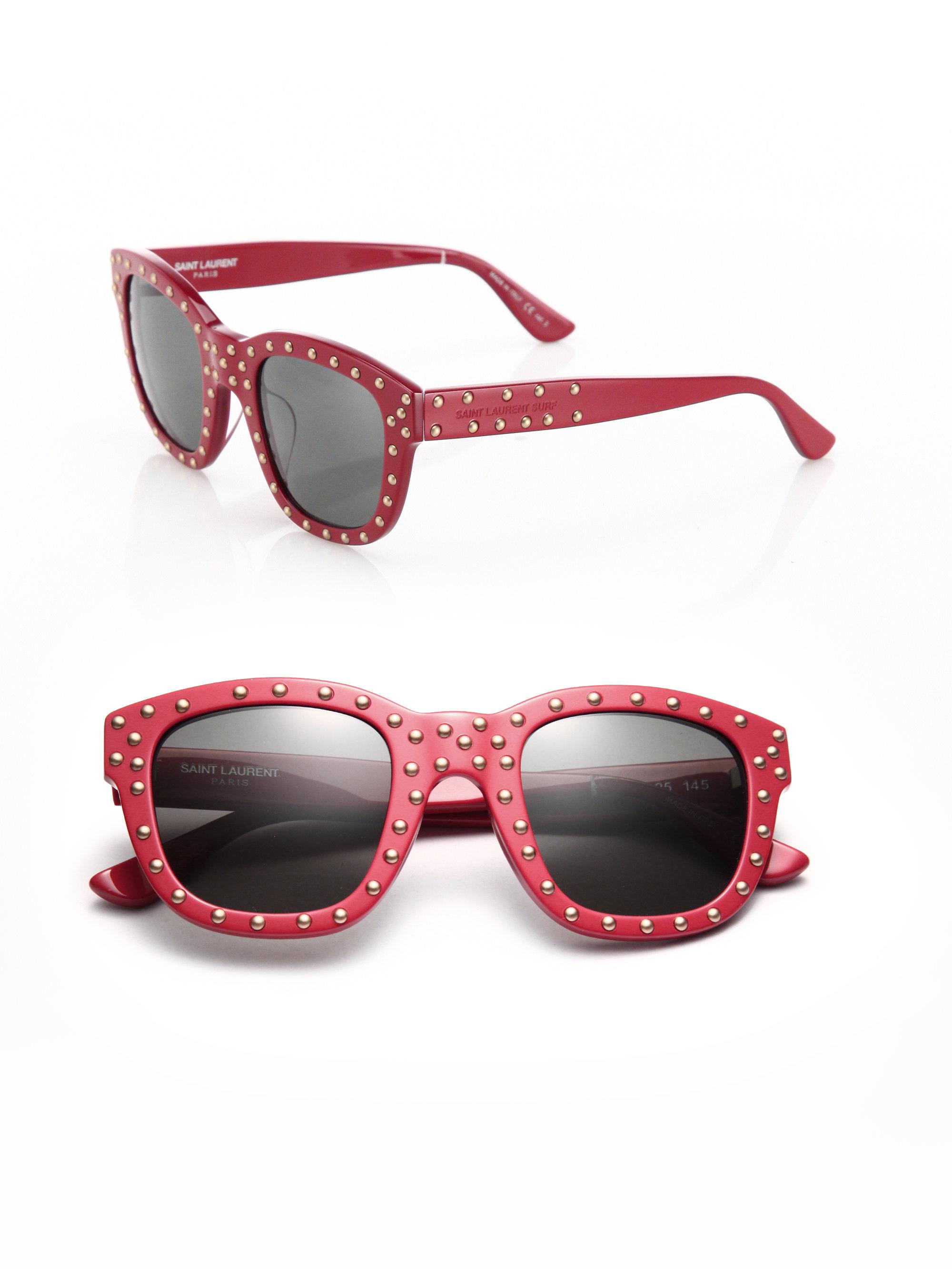 1777805832 Lyst - Saint Laurent Sl 100 Lou 48mm Studded Soft Square Sunglasses ...