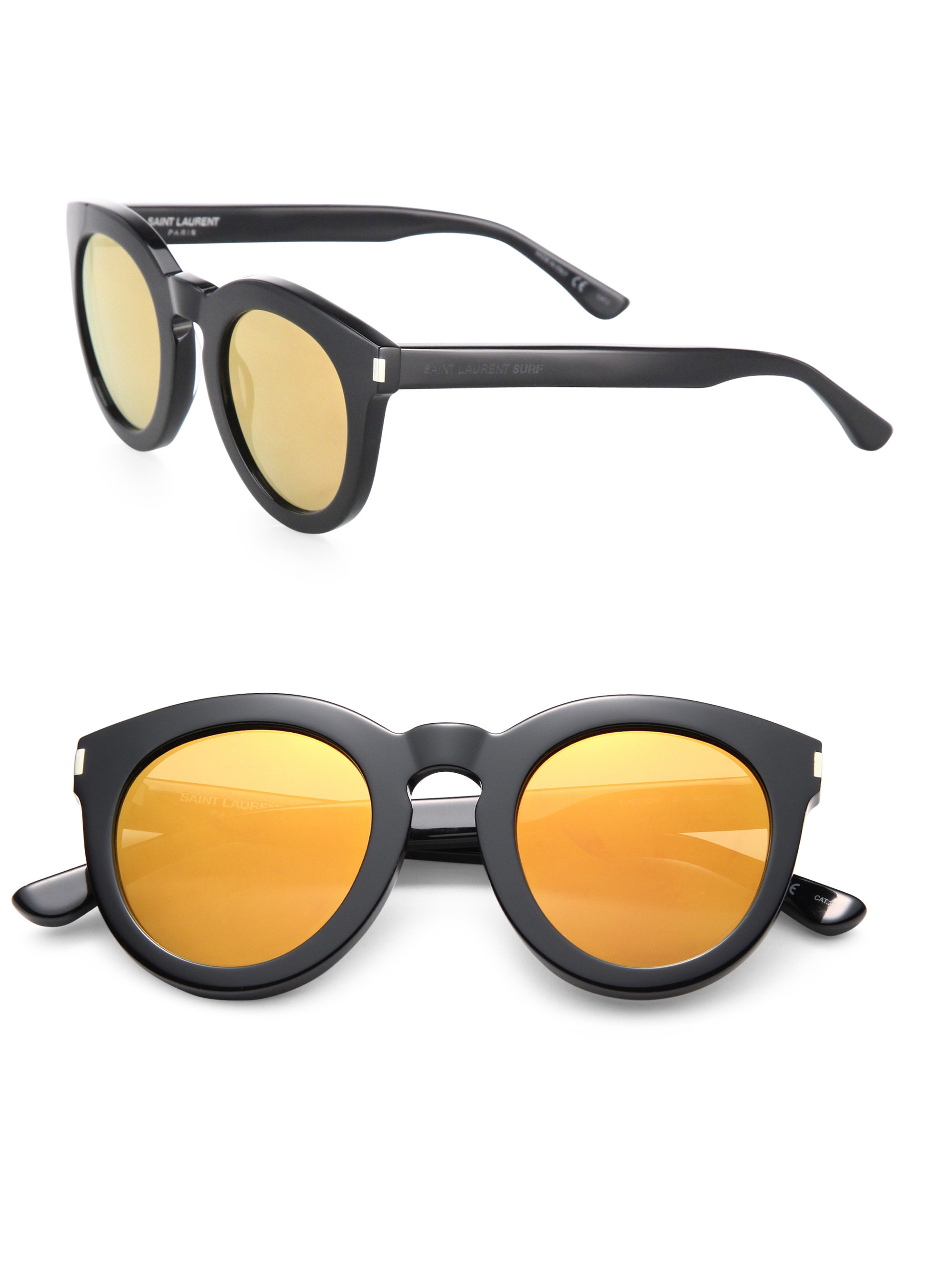 cae2a65ff81 Lyst - Saint Laurent Surf 47mm Round Sunglasses in Yellow
