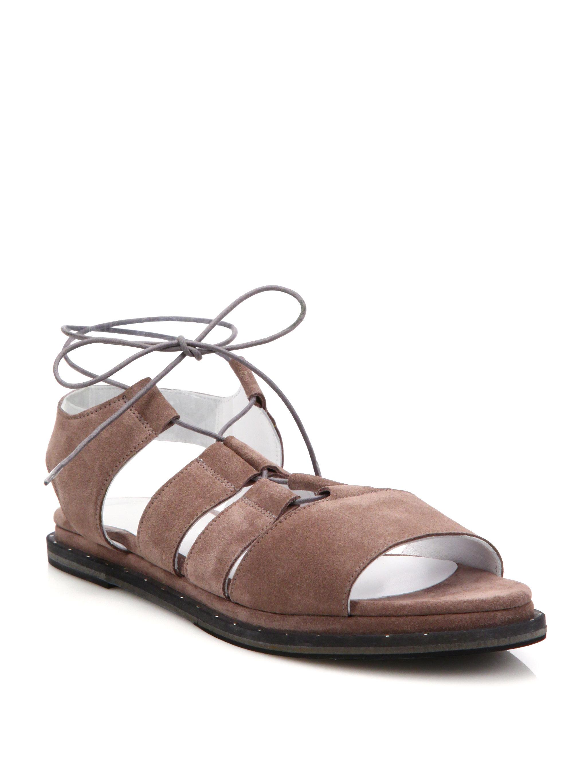 7024bc02266 Lyst - Frēda Salvador Wise Suede Ghillie Gladiator Sandals in Brown