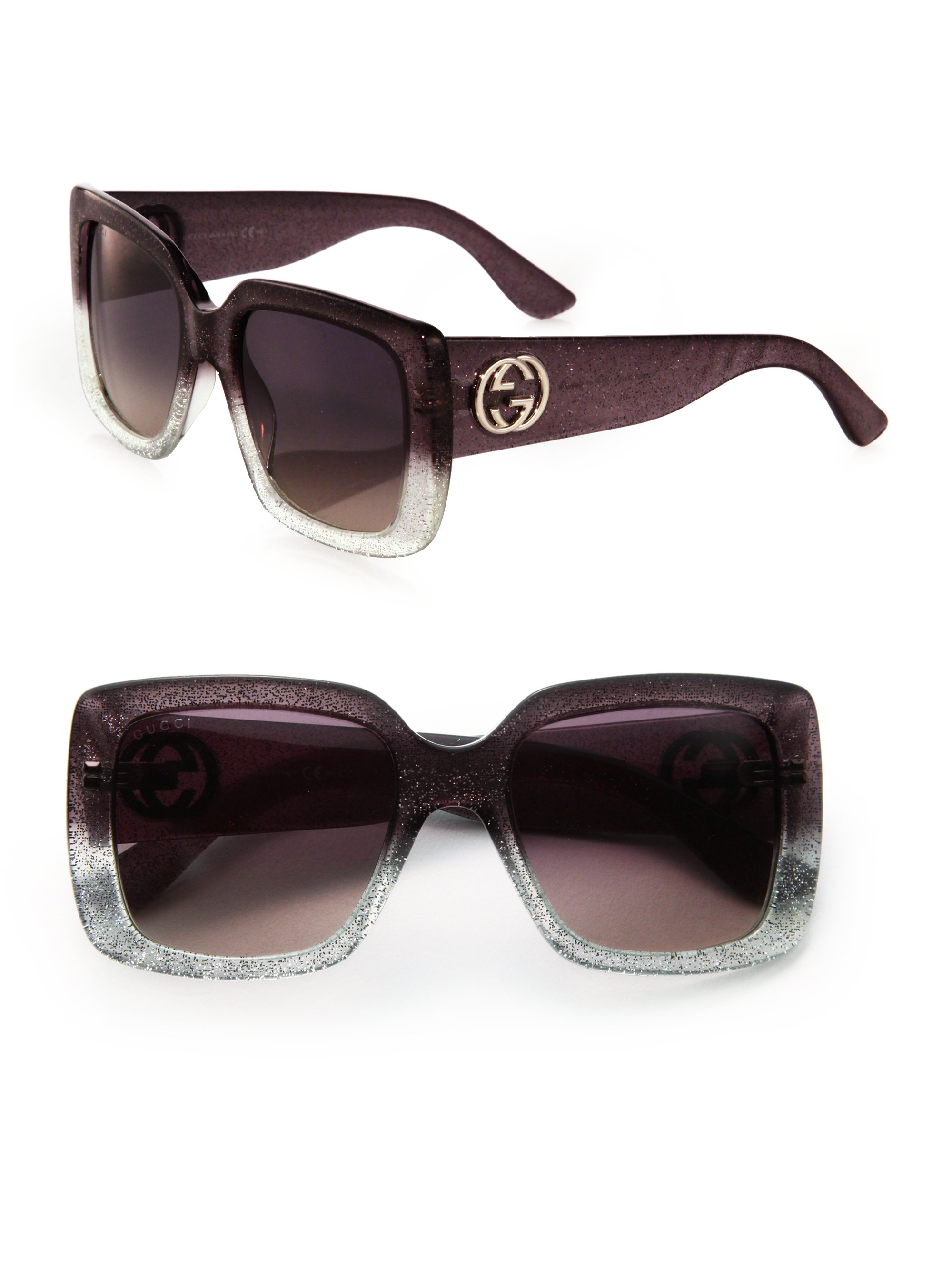 9ad38508a3 Gucci 53mm Oversized Square Glitter Sunglasses in Metallic - Lyst
