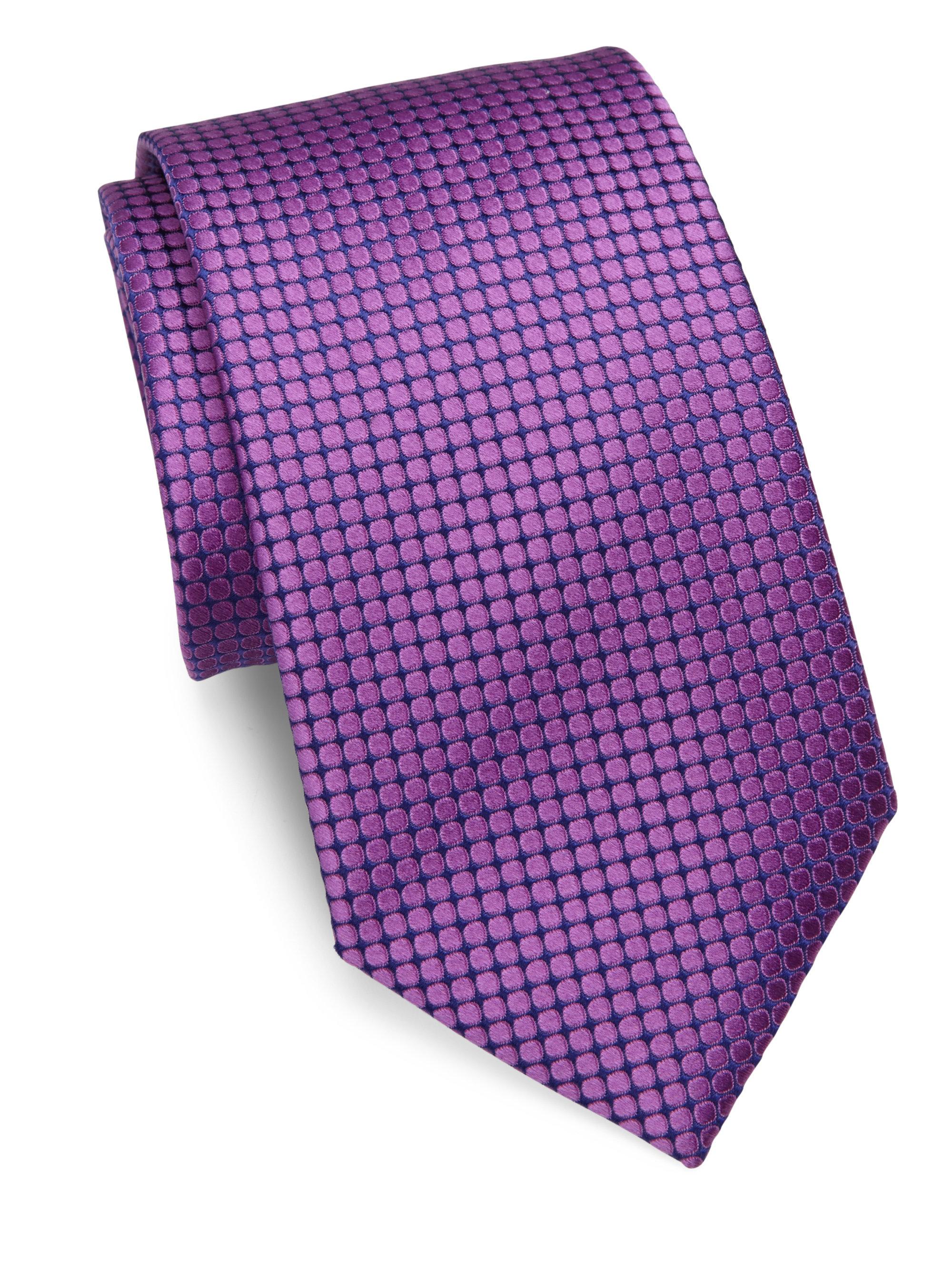 charvet small pattern silk tie in purple for lyst