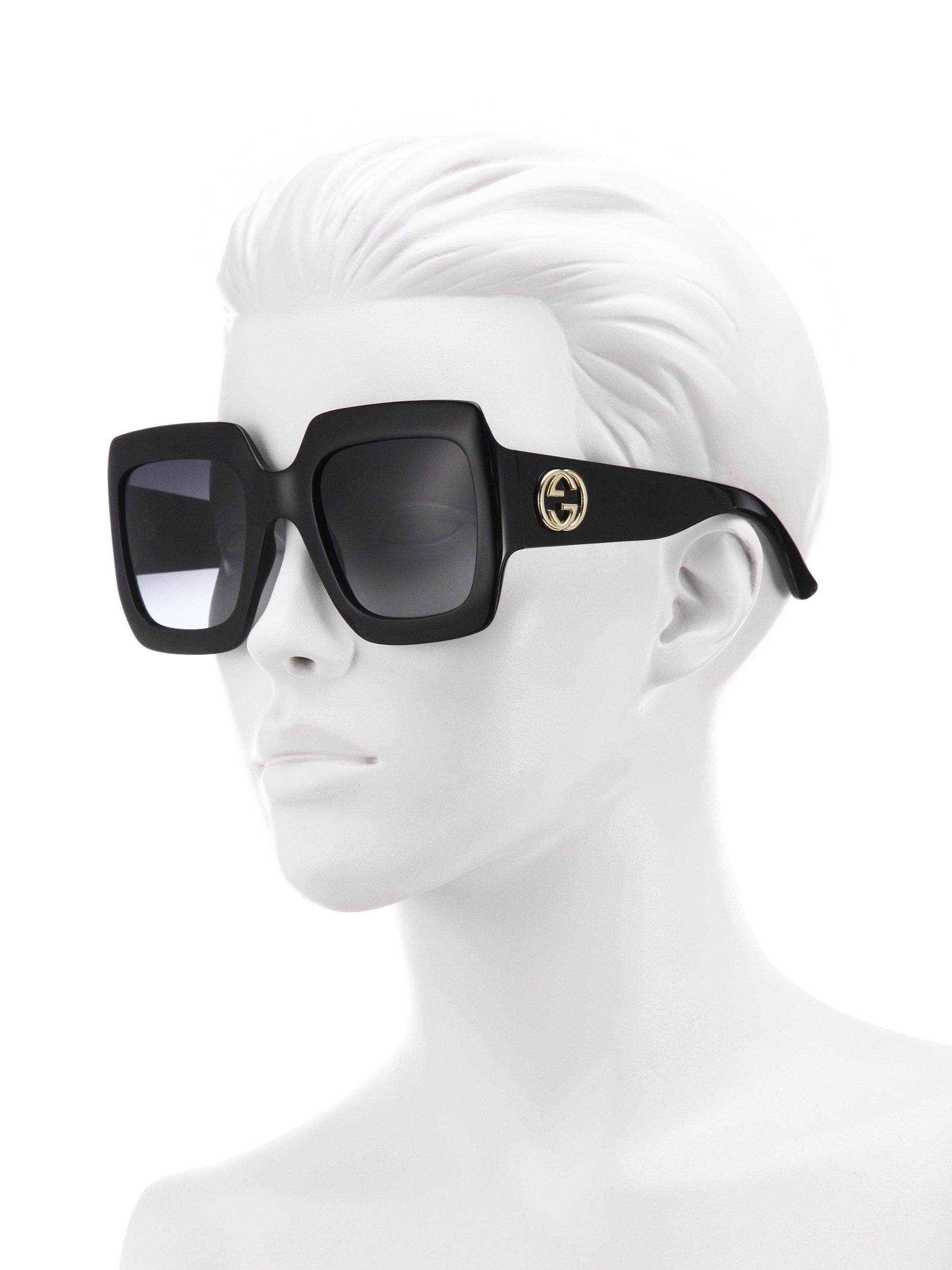 129ad1ba6 Lyst - Gucci 54mm Oversized Square Sunglasses in Black