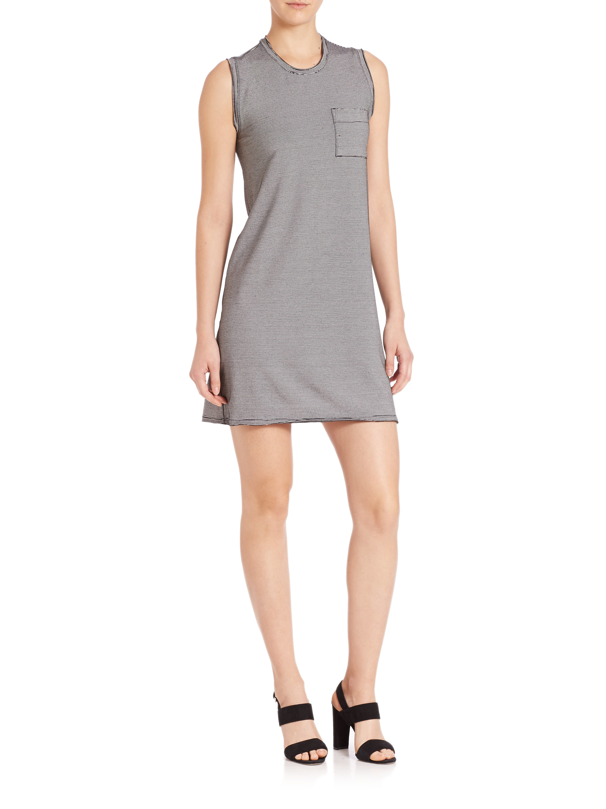 atm pocket tank dress in gray lyst. Black Bedroom Furniture Sets. Home Design Ideas