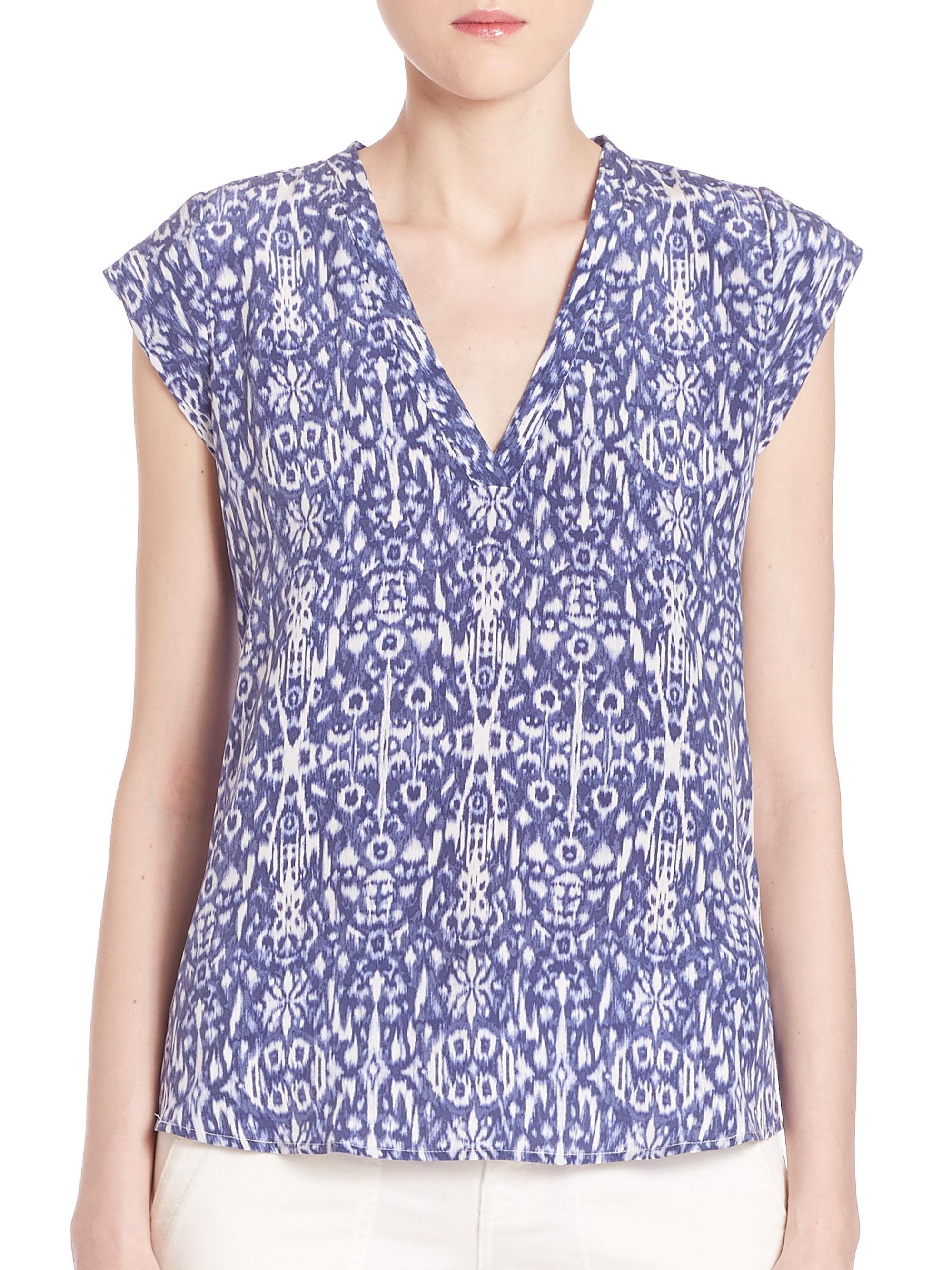 05dc3a0dfc3ea9 Lyst - Joie Rubina Ikat-print Silk Top