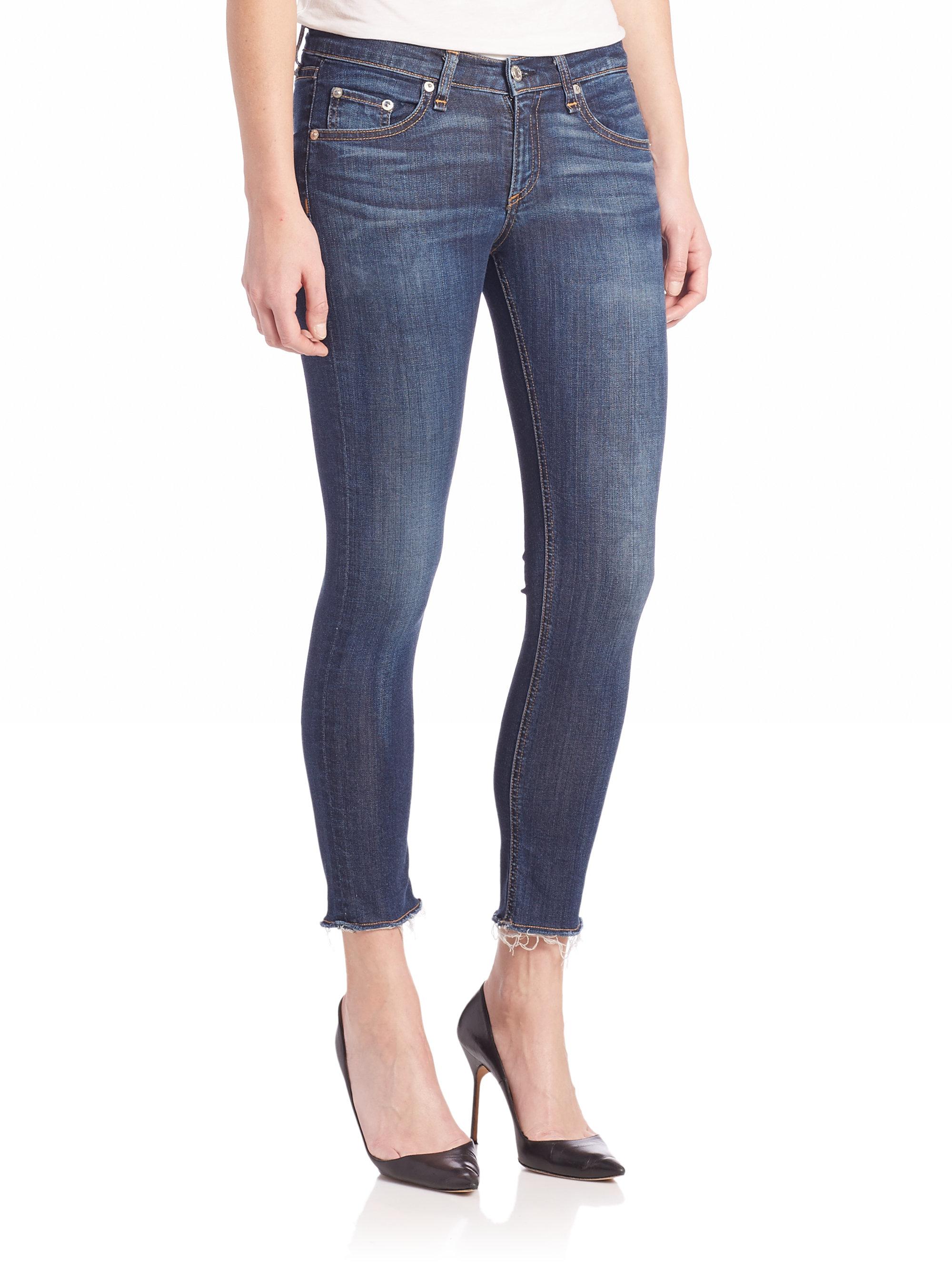 Rag & bone Slim Fit Capri Pants in Blue   Lyst