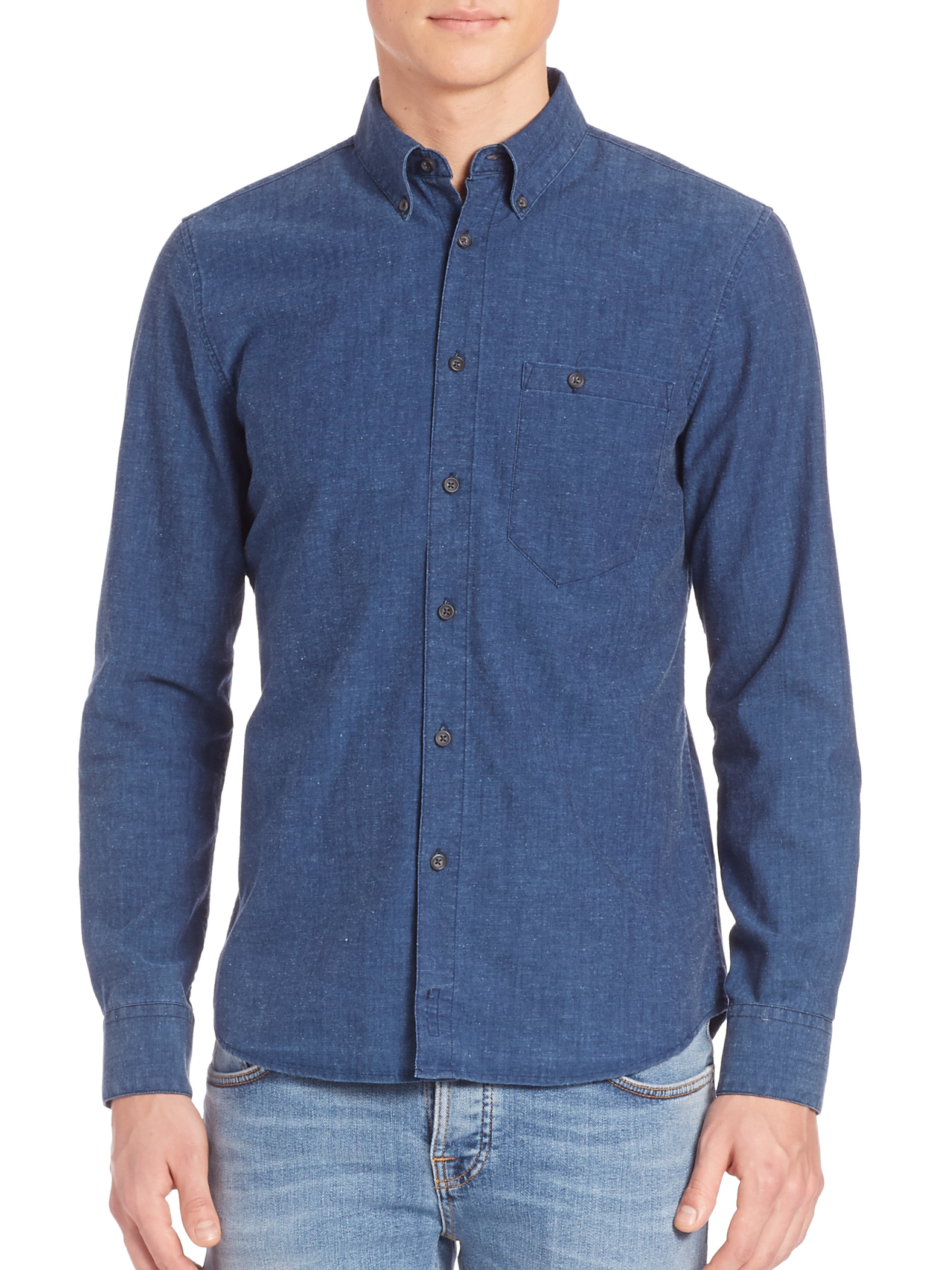 Nudie Jeans Organic Cotton Woven Shirt In Blue For Men Lyst