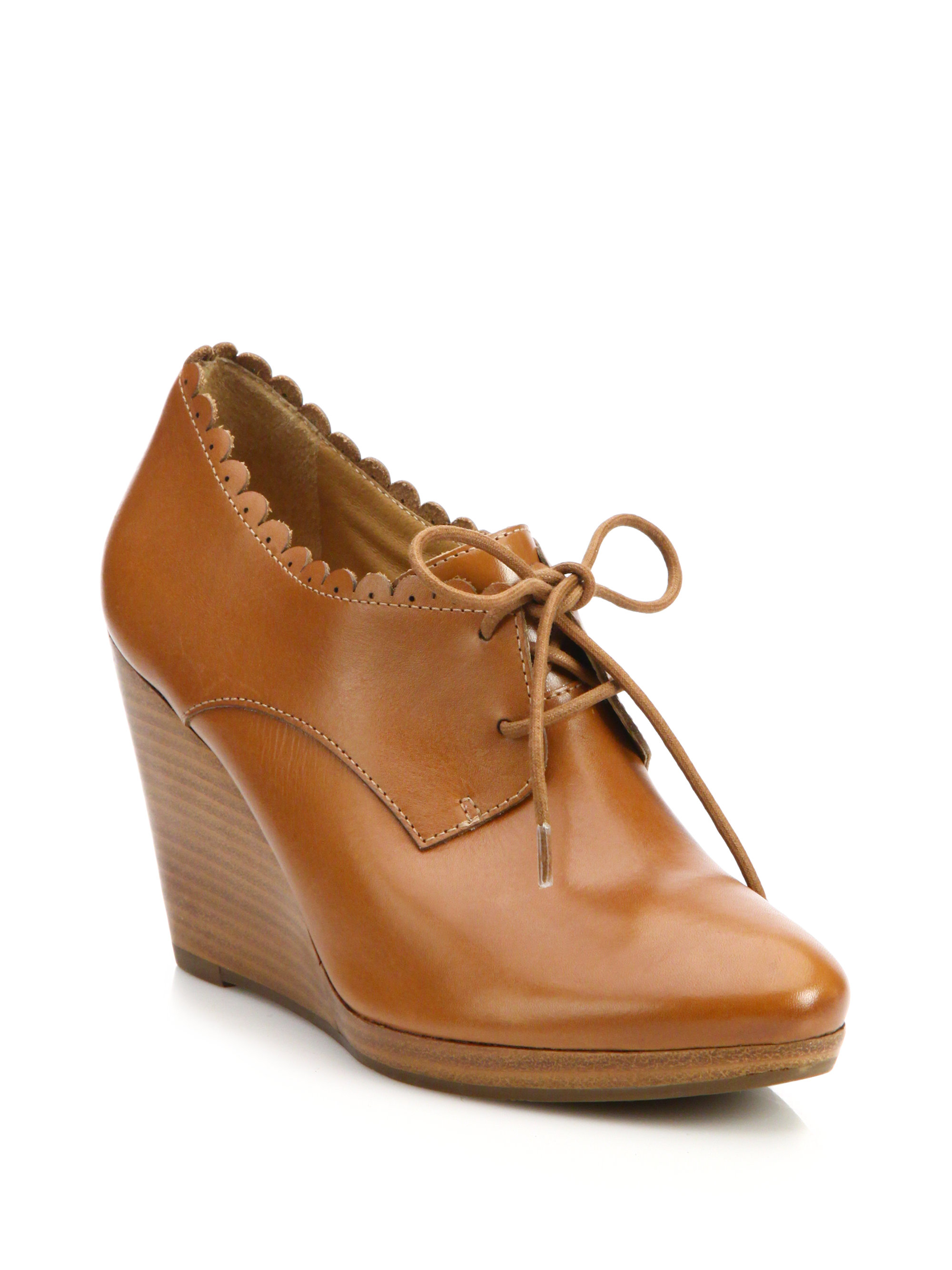 a0bc54559b9 Lyst - Jack Rogers Olivia Leather Oxford Wedge Booties in Brown