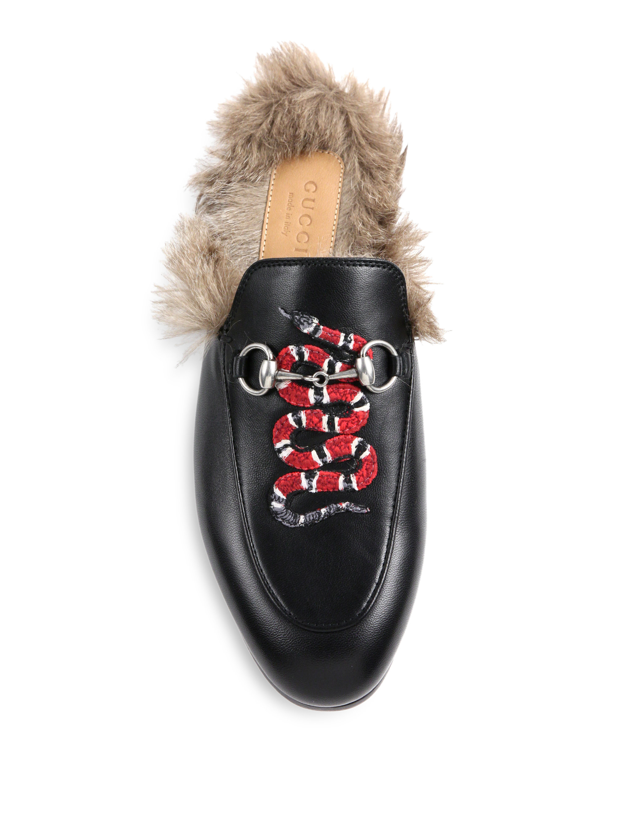 Gucci Princetown Fur Lined Snake Leather Slippers In Black