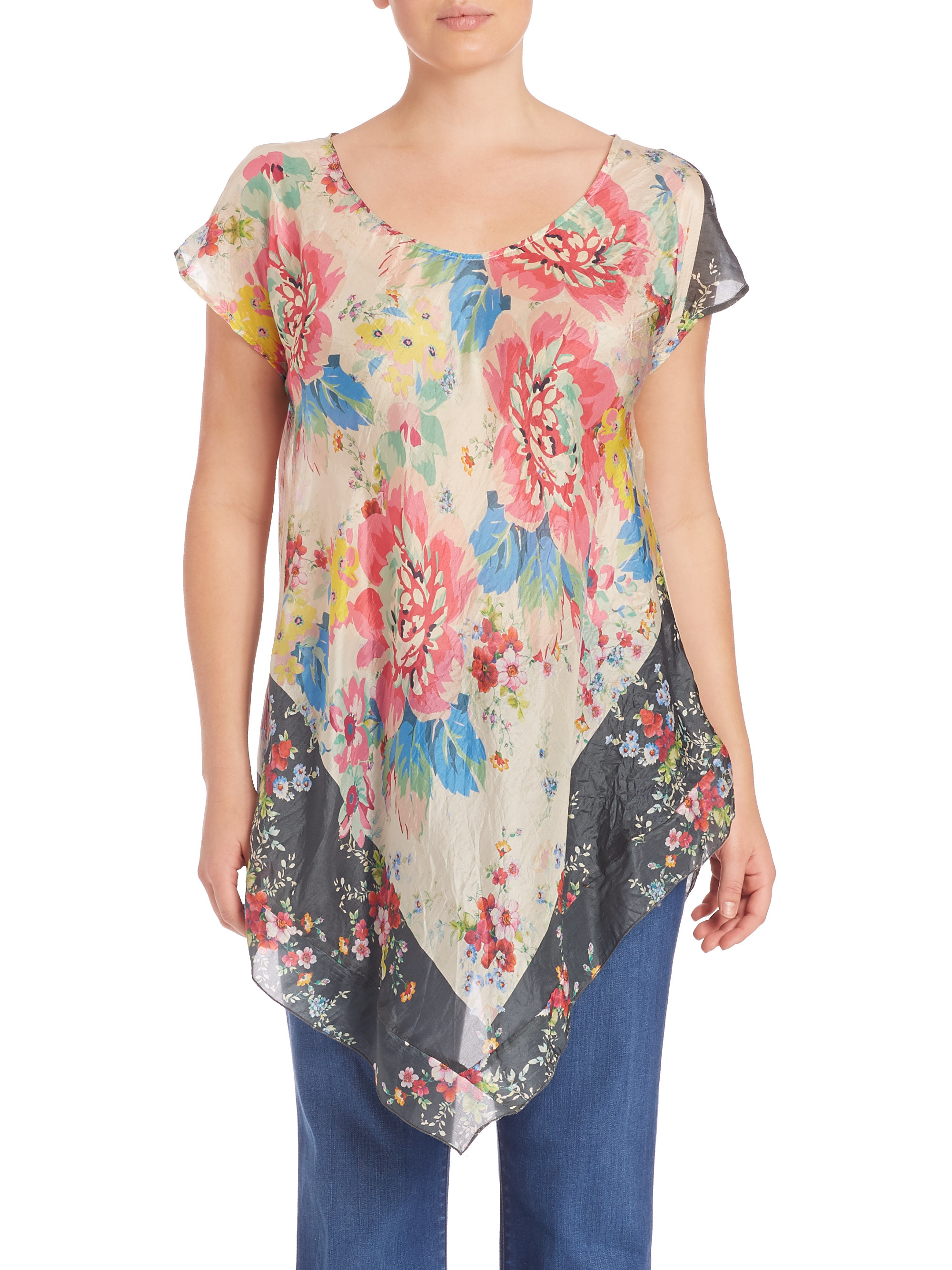 Johnny was tropical flower silk top lyst for Johnny was silk shirt