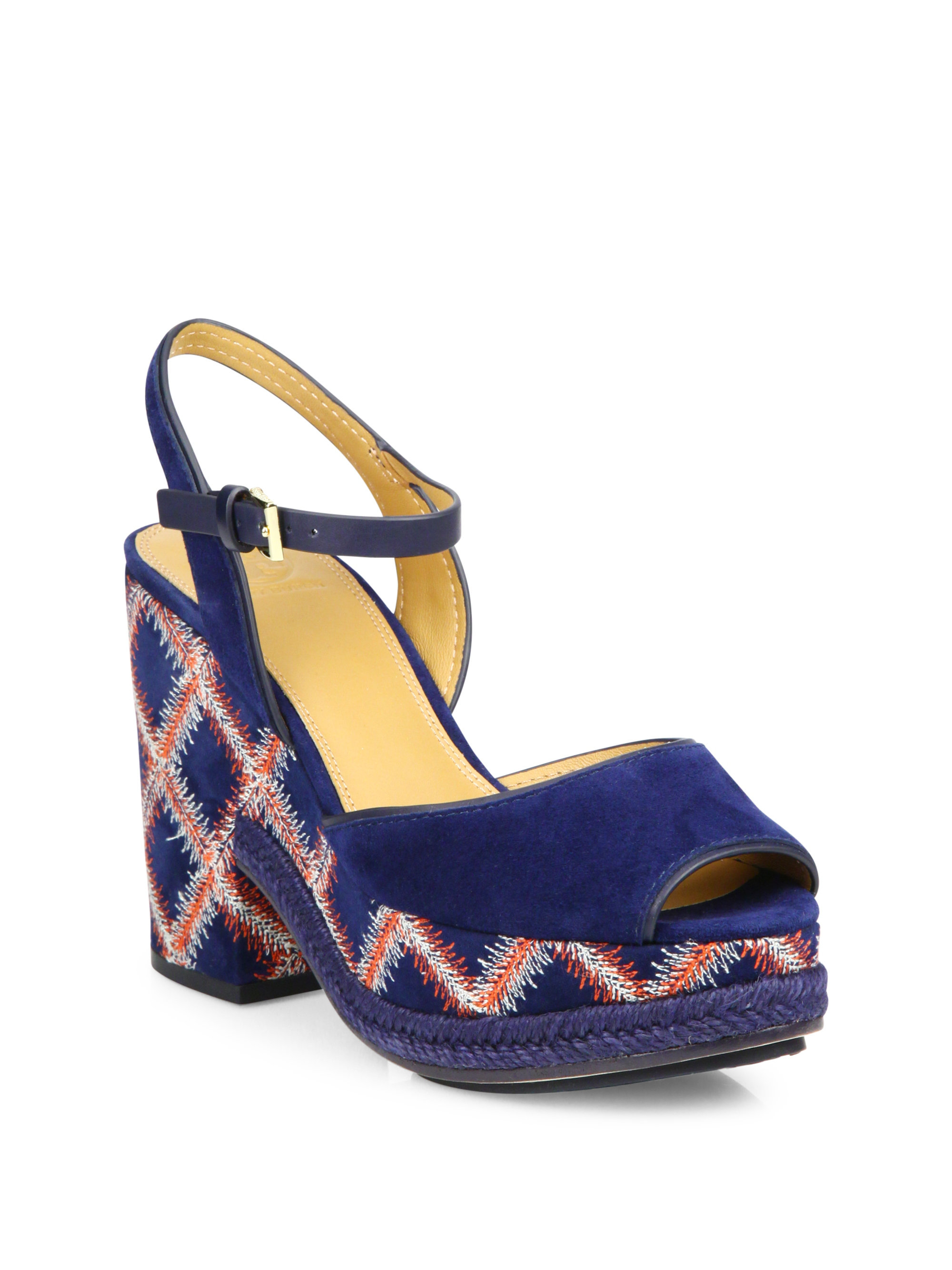 Tory Burch Trinity Embroidered Suede Wedge Sandals In Blue