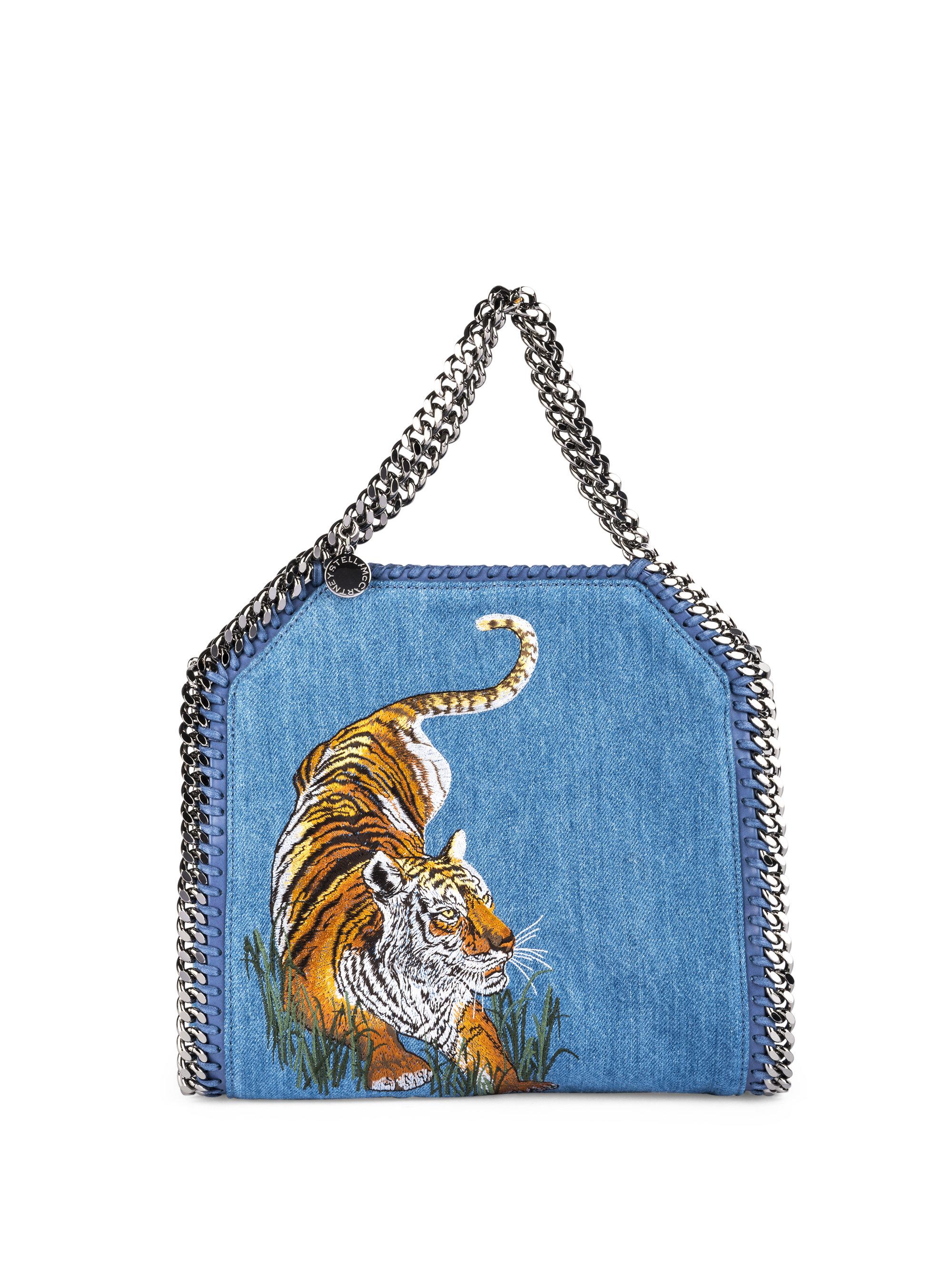 aeb1991c19c25 Lyst - Stella McCartney Mini Baby Bella Embroidered Tiger Denim Tote ...