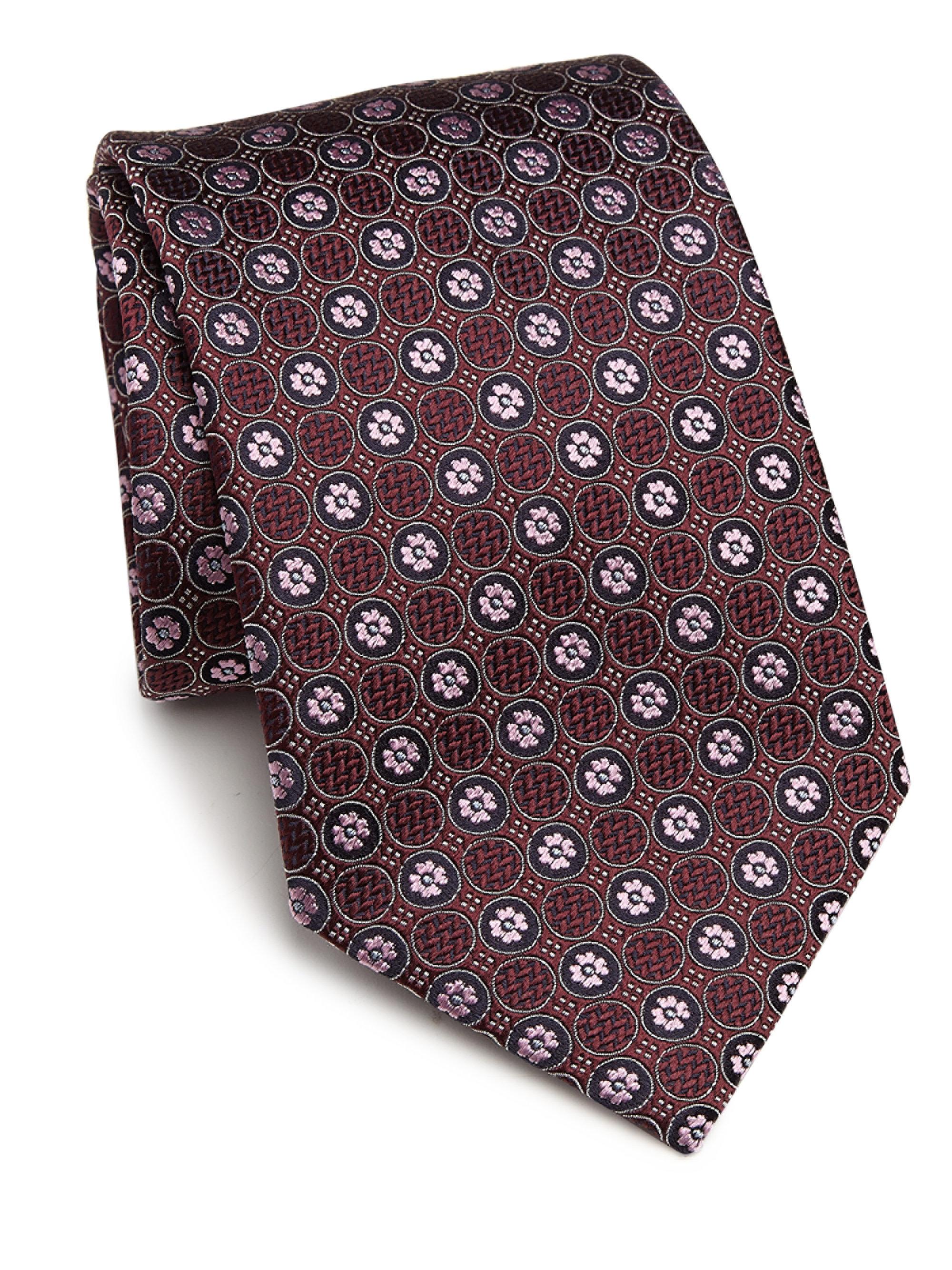 Ermenegildo zegna floral embroidered silk tie in red for