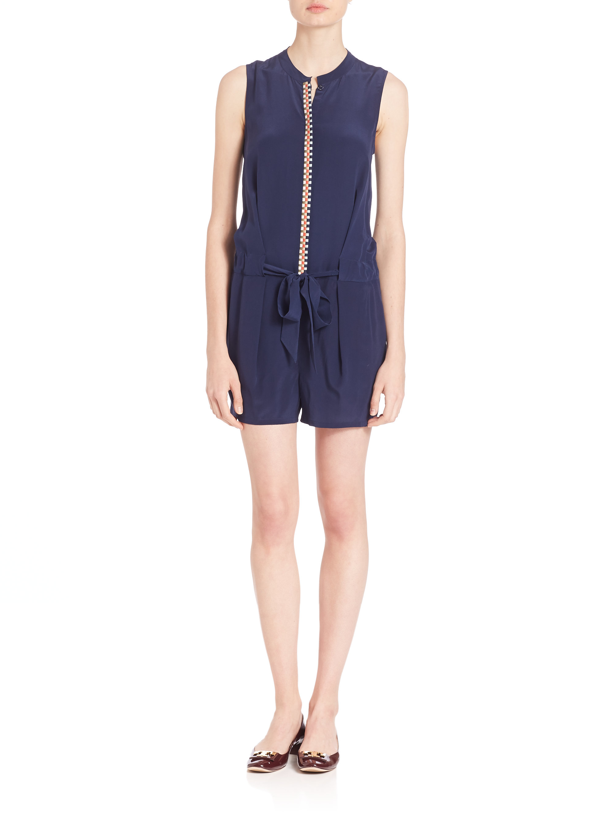 Tory burch marguerite silk romper in blue lyst for Tory burch fashion island