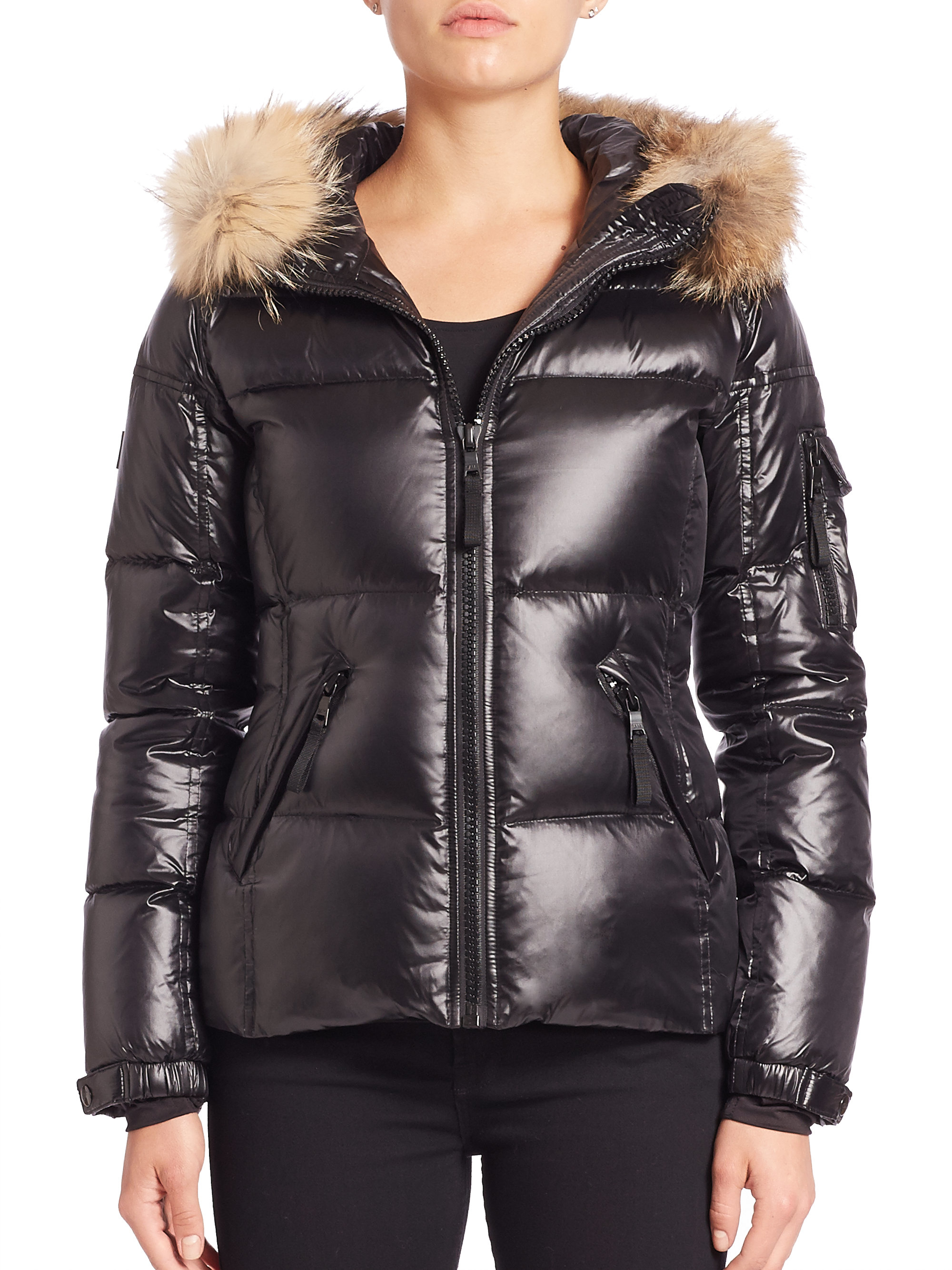 7ffd90d80967 Lyst - Sam. Blake Fur-trim Down Puffer Jacket in Black