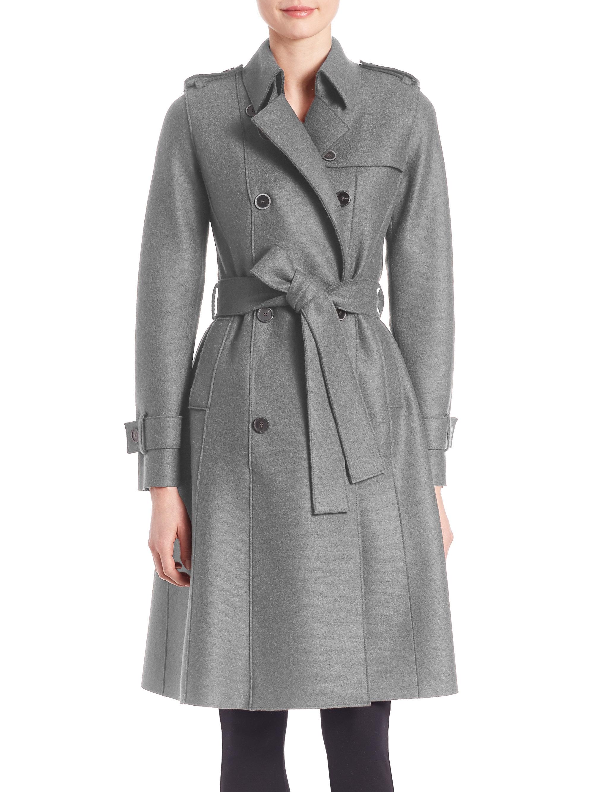 Lyst - Harris Wharf London Virgin Wool Trench Coat in Gray 37212d19348bb