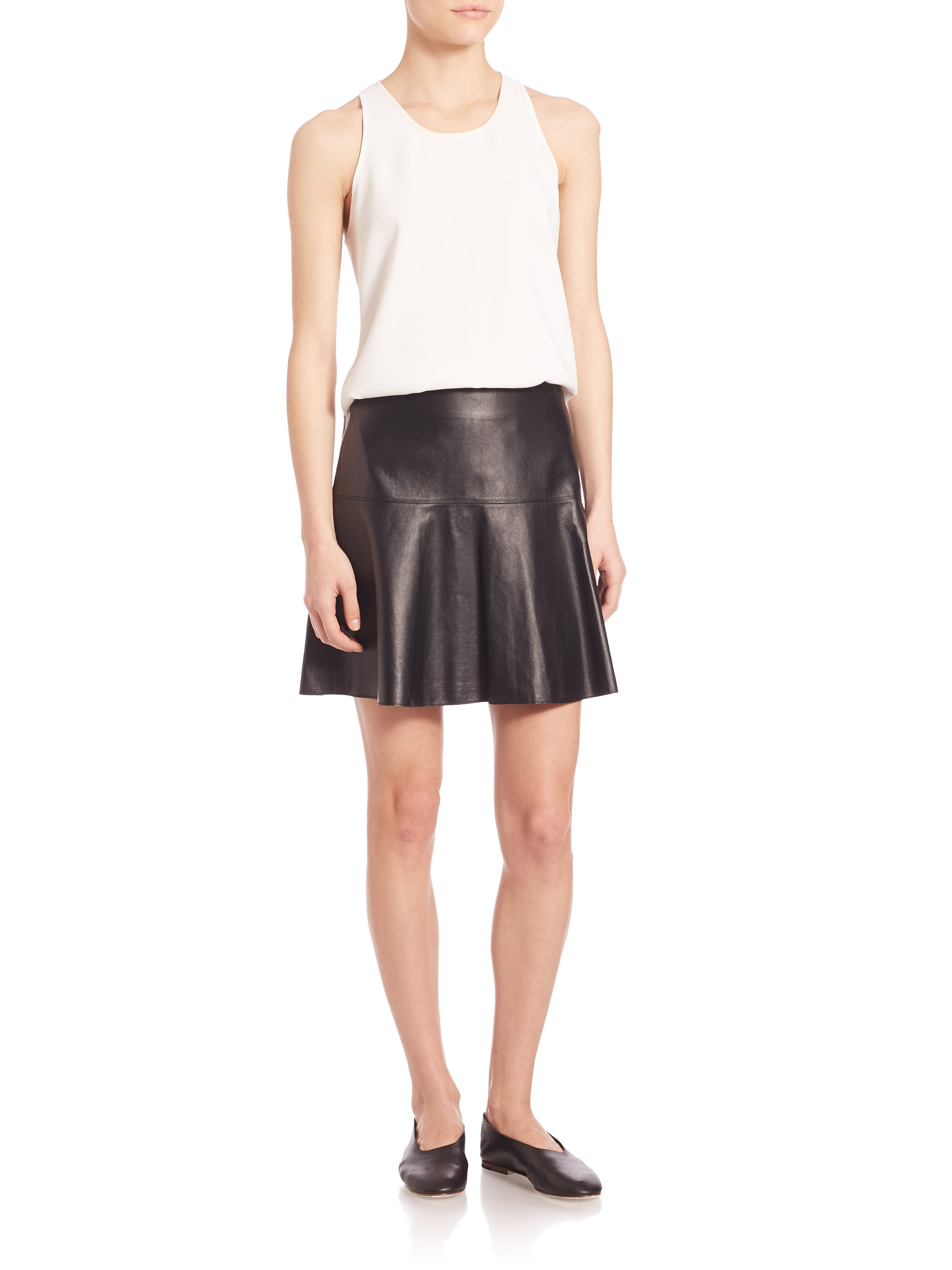 vince leather flared hem skirt in black lyst