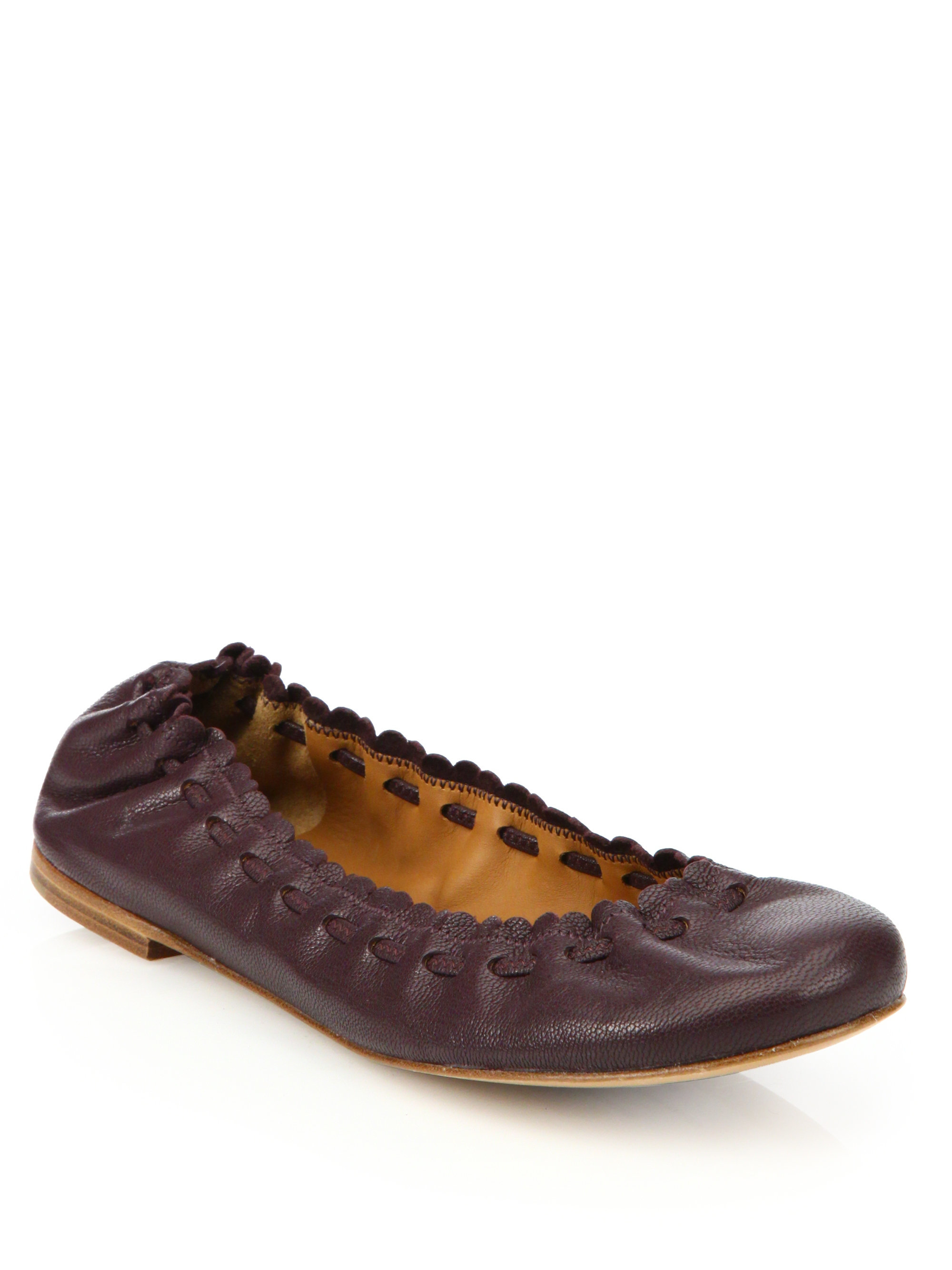 see by chlo jane leather ballet flats in brown aubergine. Black Bedroom Furniture Sets. Home Design Ideas