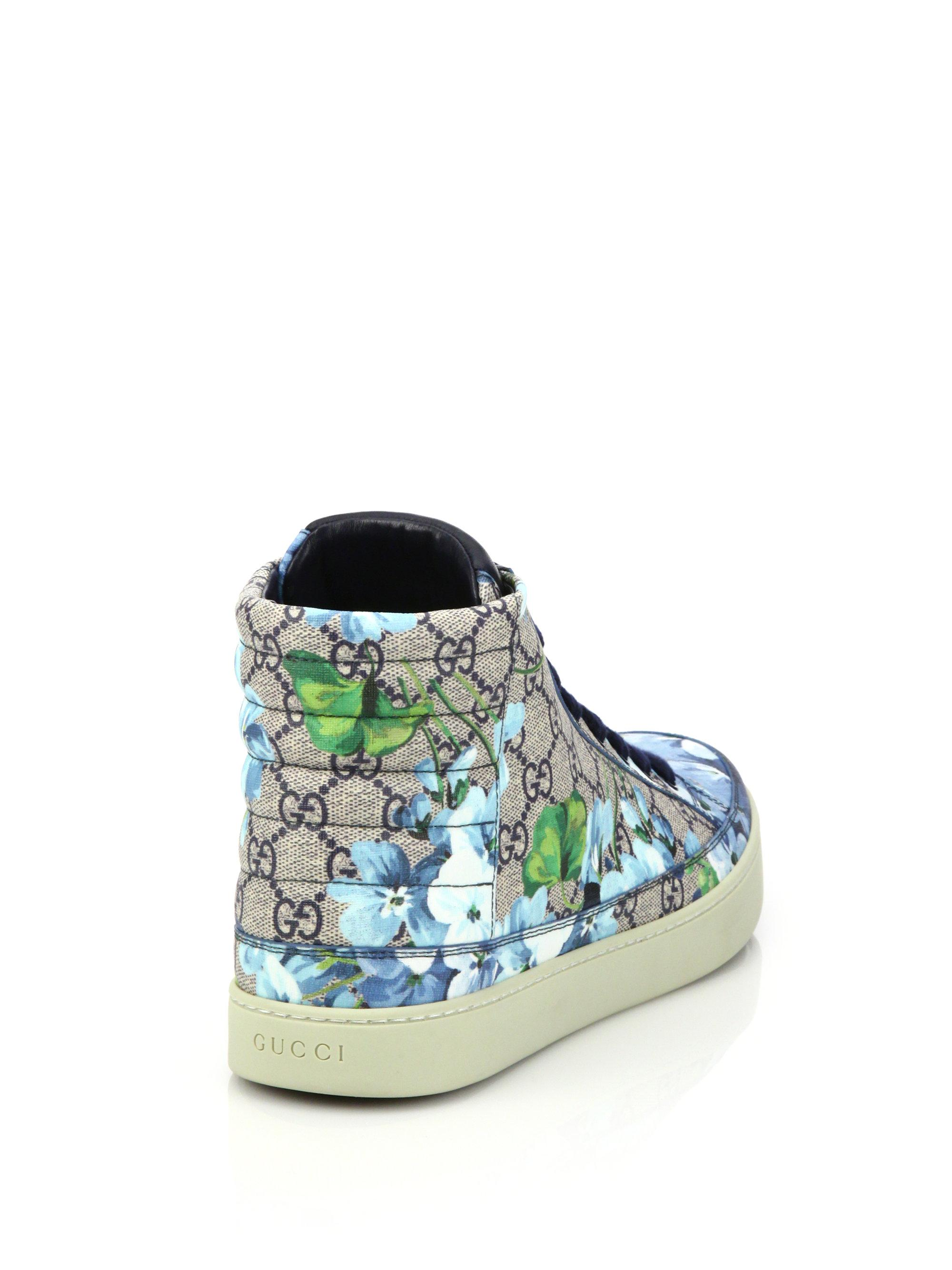 6954bdc58b9 Lyst - Gucci Blooms Print High-top Sneakers in Blue