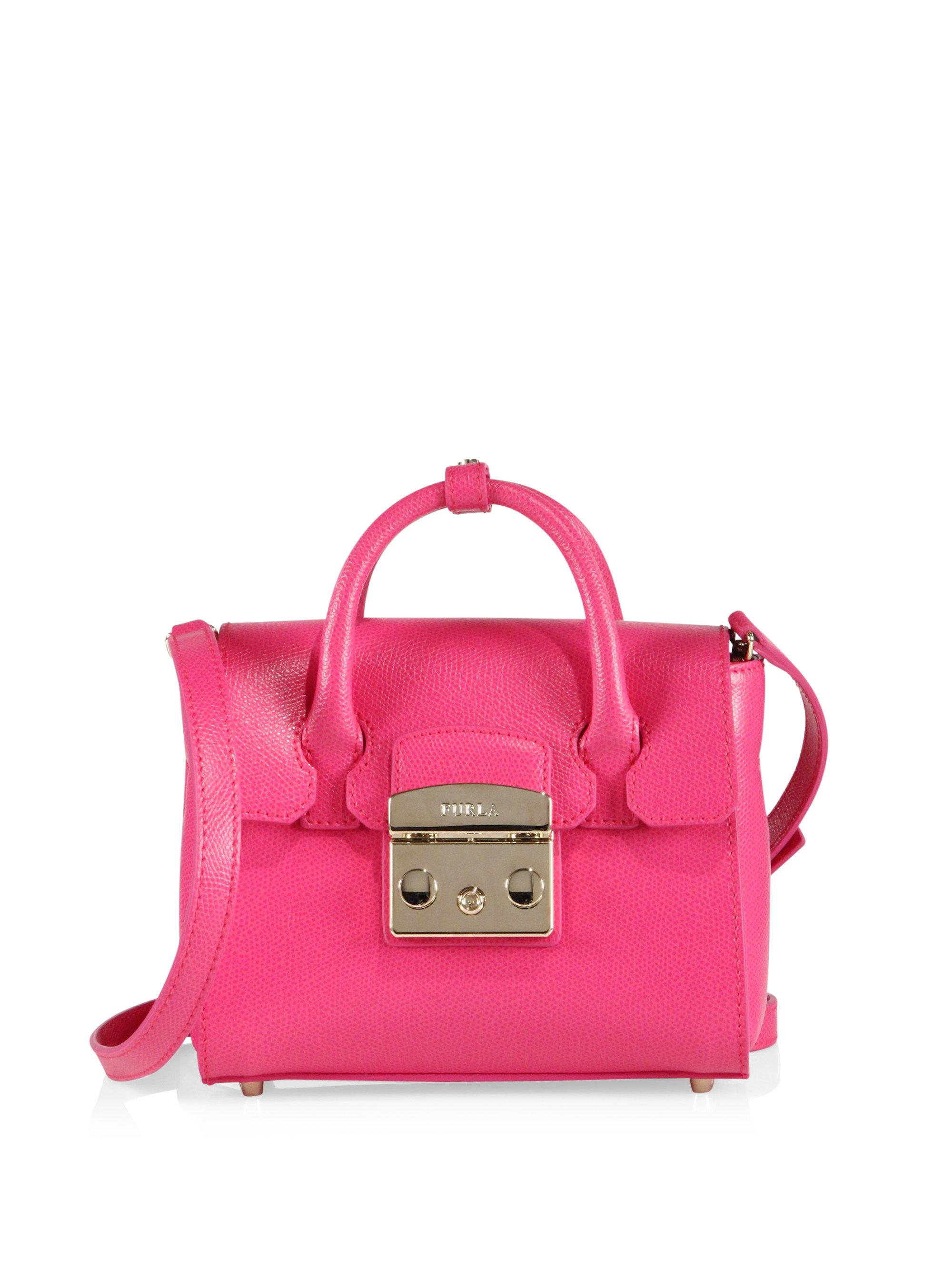 furla metropolis mini leather satchel in pink lyst. Black Bedroom Furniture Sets. Home Design Ideas