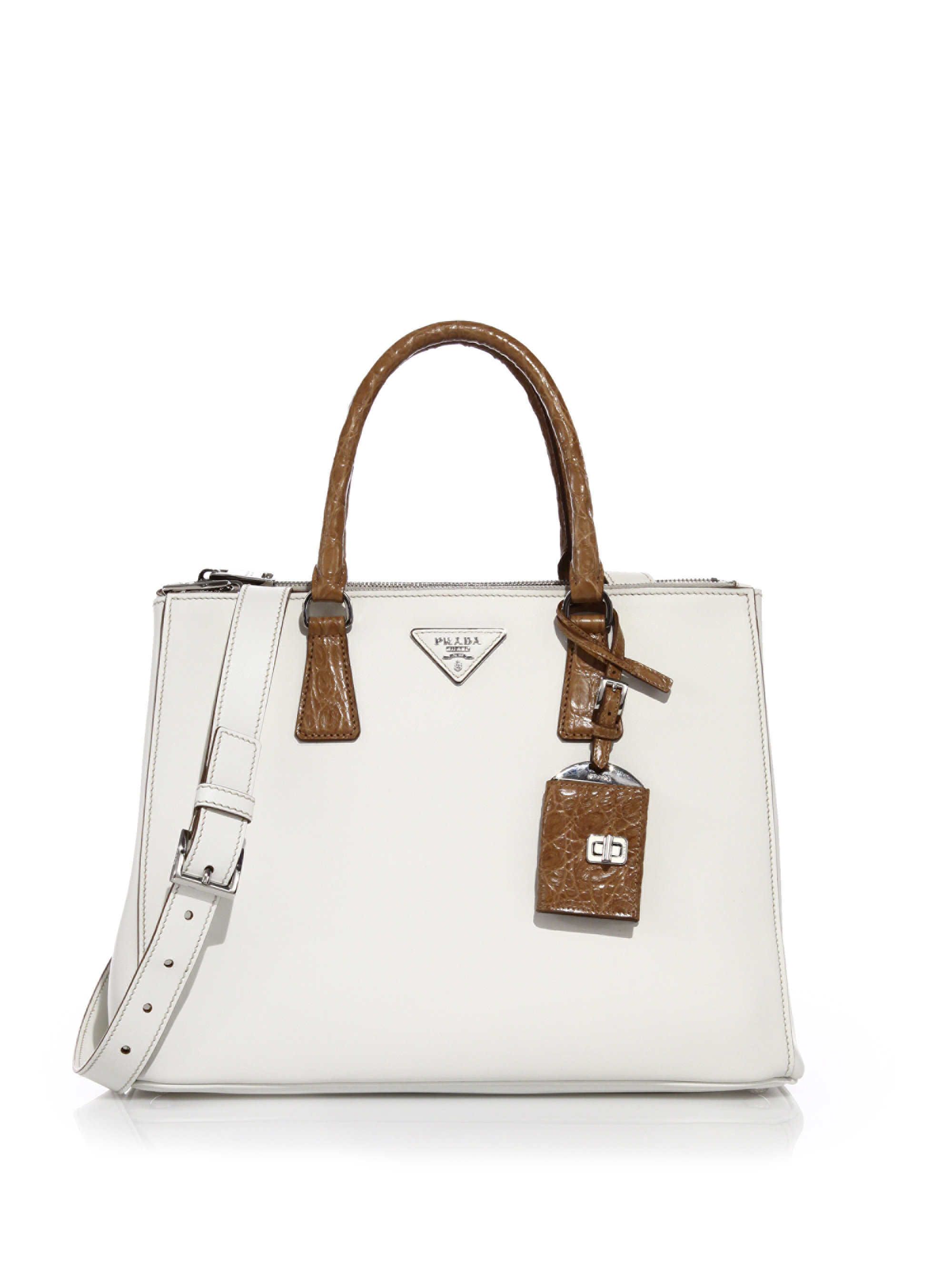 6f8ab6bde0cedf ... cheapest lyst prada galleria medium leather and crocodile tote in white  c0be3 fa018