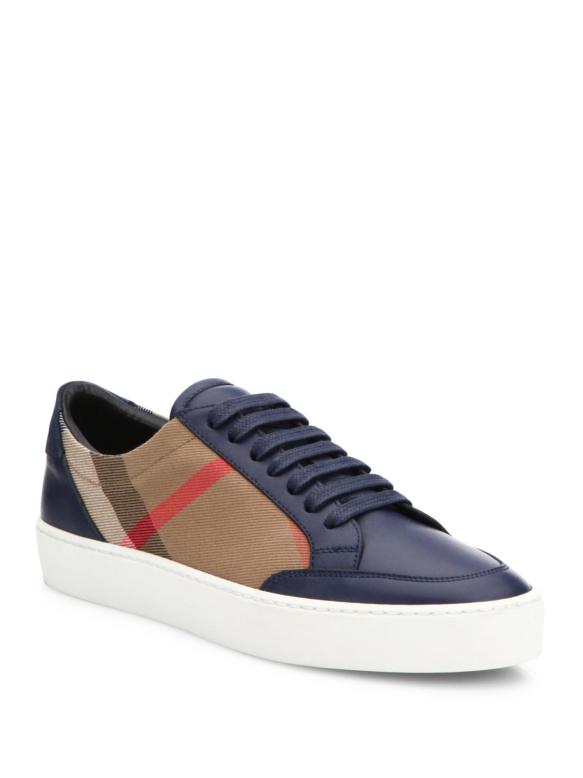 Lyst Burberry Salmond House Check Amp Leather Sneakers In