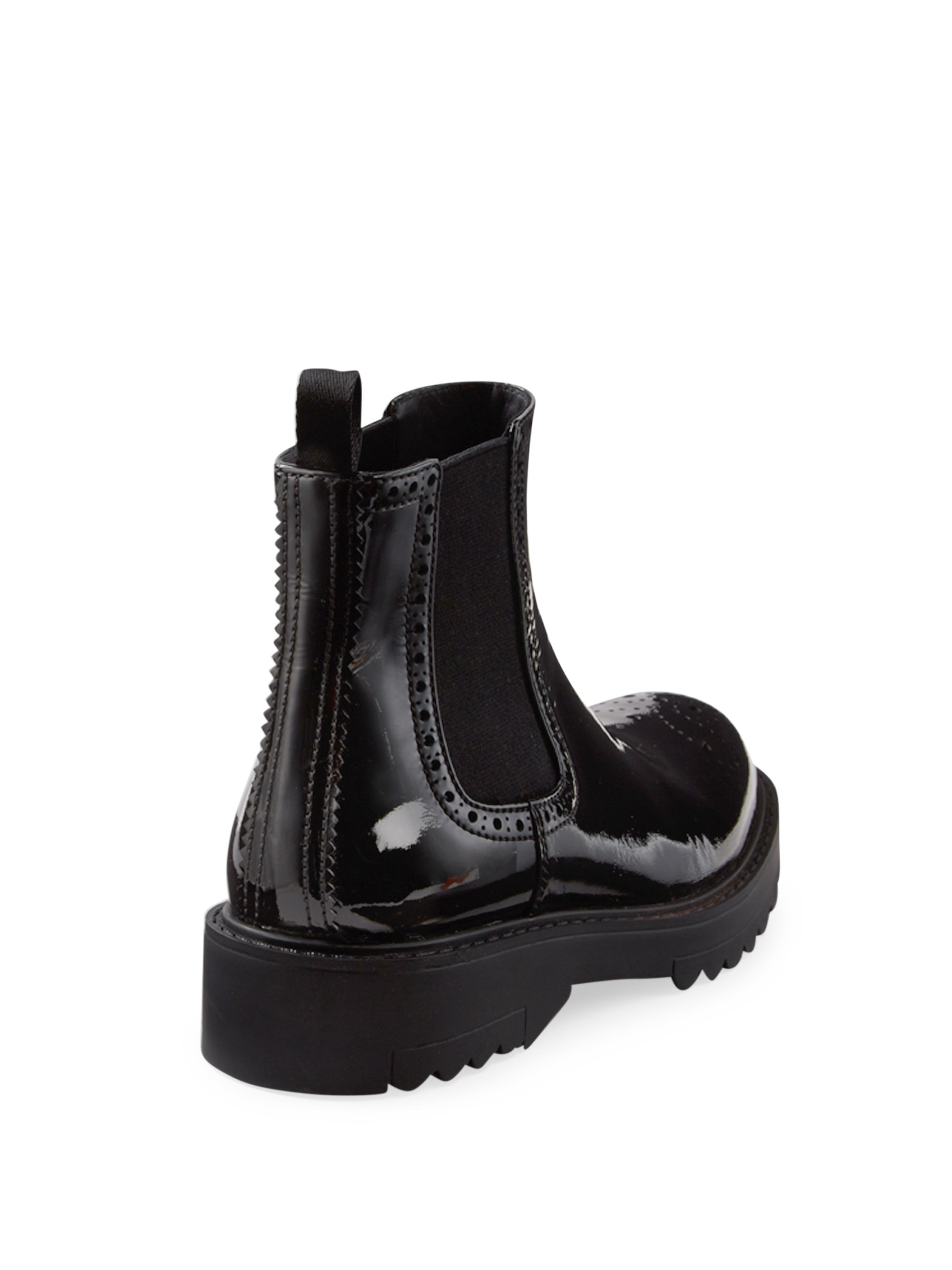 prada patent leather brogue chelsea boots in black lyst