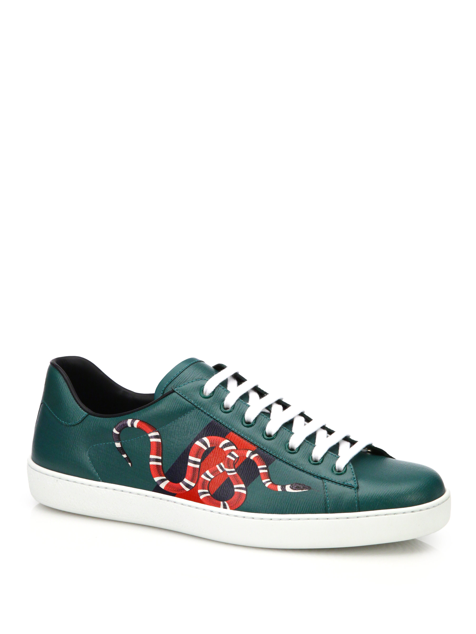 c342e2cac43 Lyst - Gucci New Ace Snake Print Leather Low-top Sneakers in Green