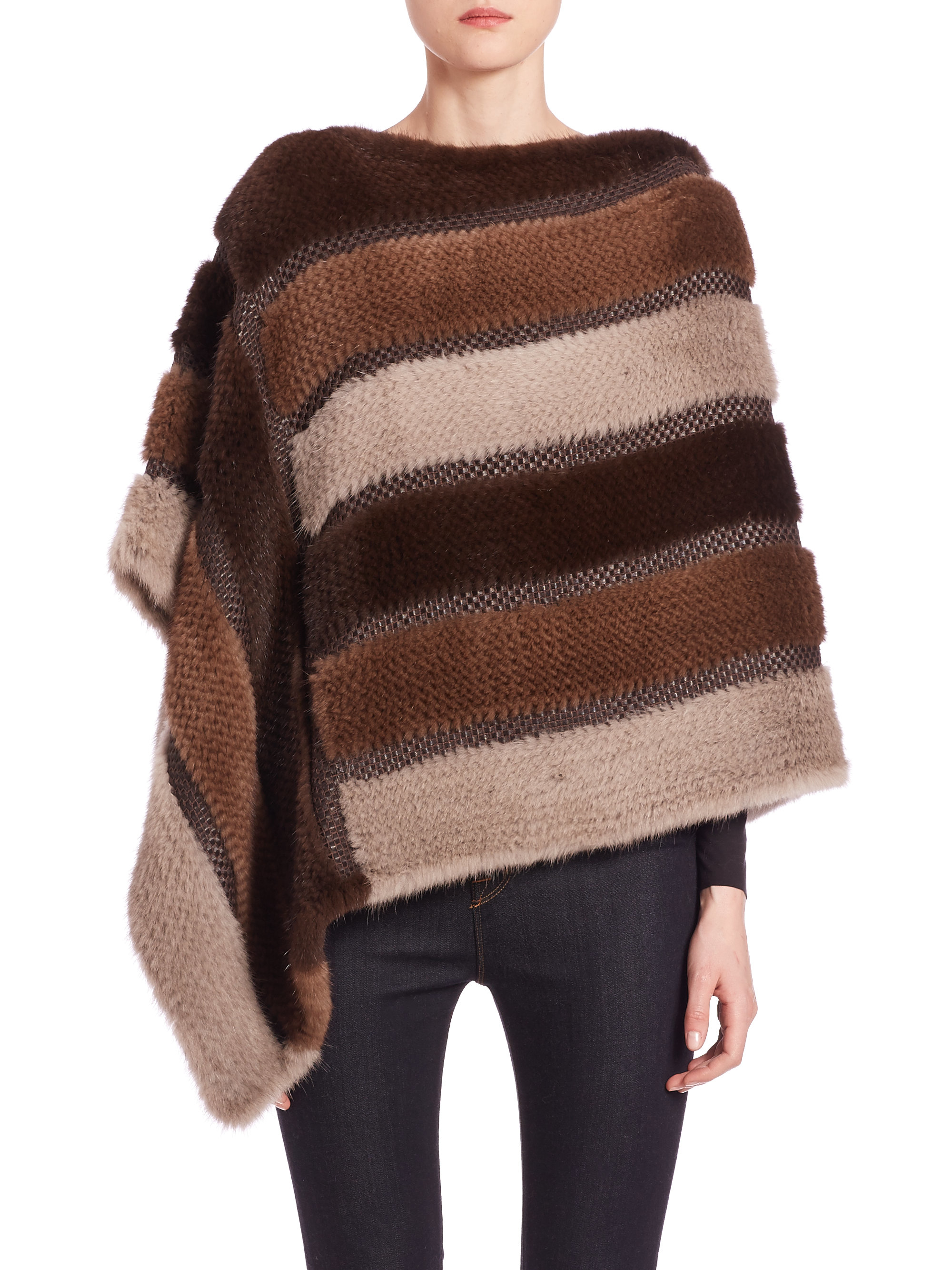 Knitting Pattern Striped Poncho : Trilogy Striped Knit Mink Poncho in Brown Lyst
