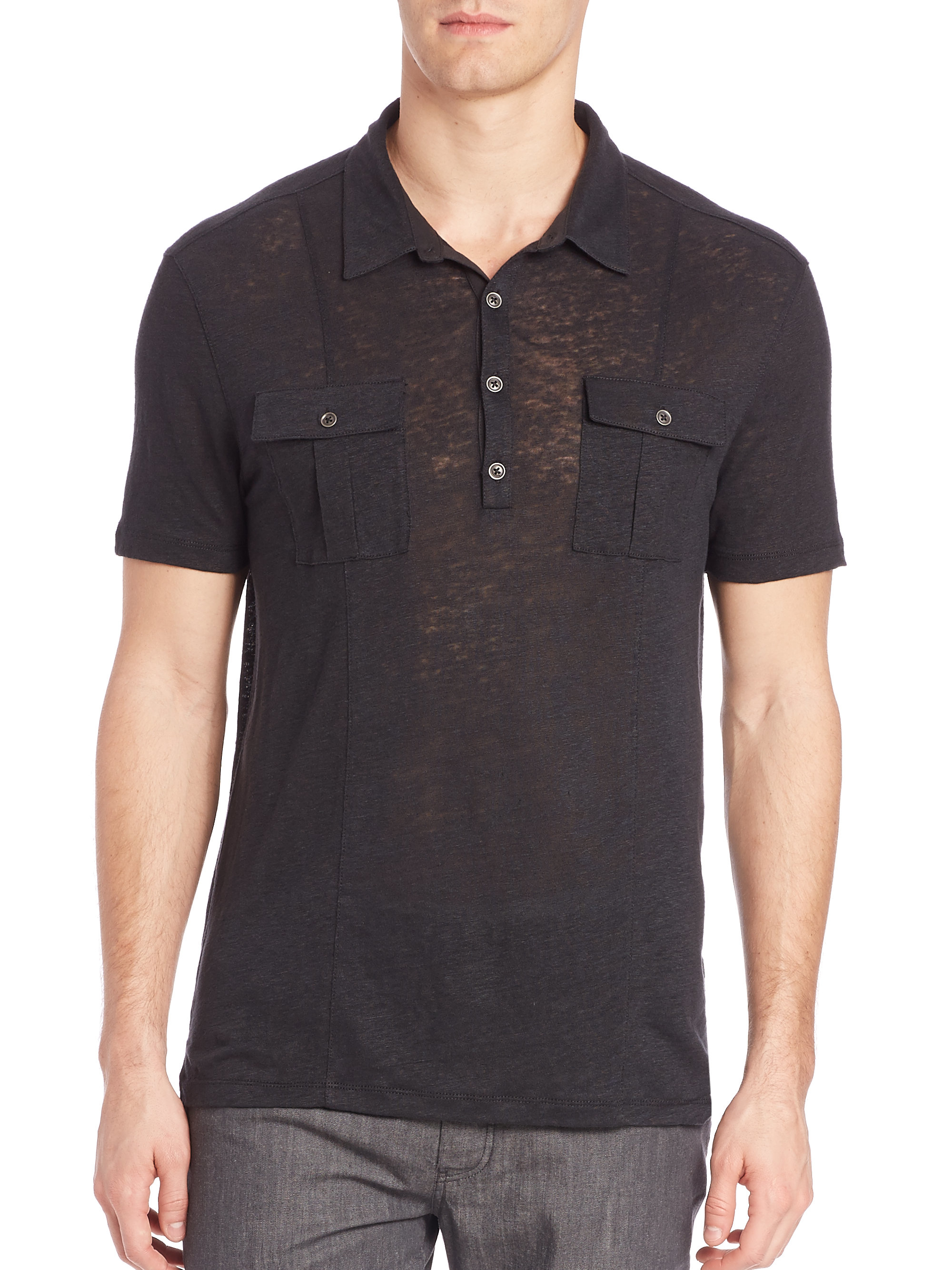 John varvatos two pocket knit polo in black for men lyst for Two pocket polo shirt