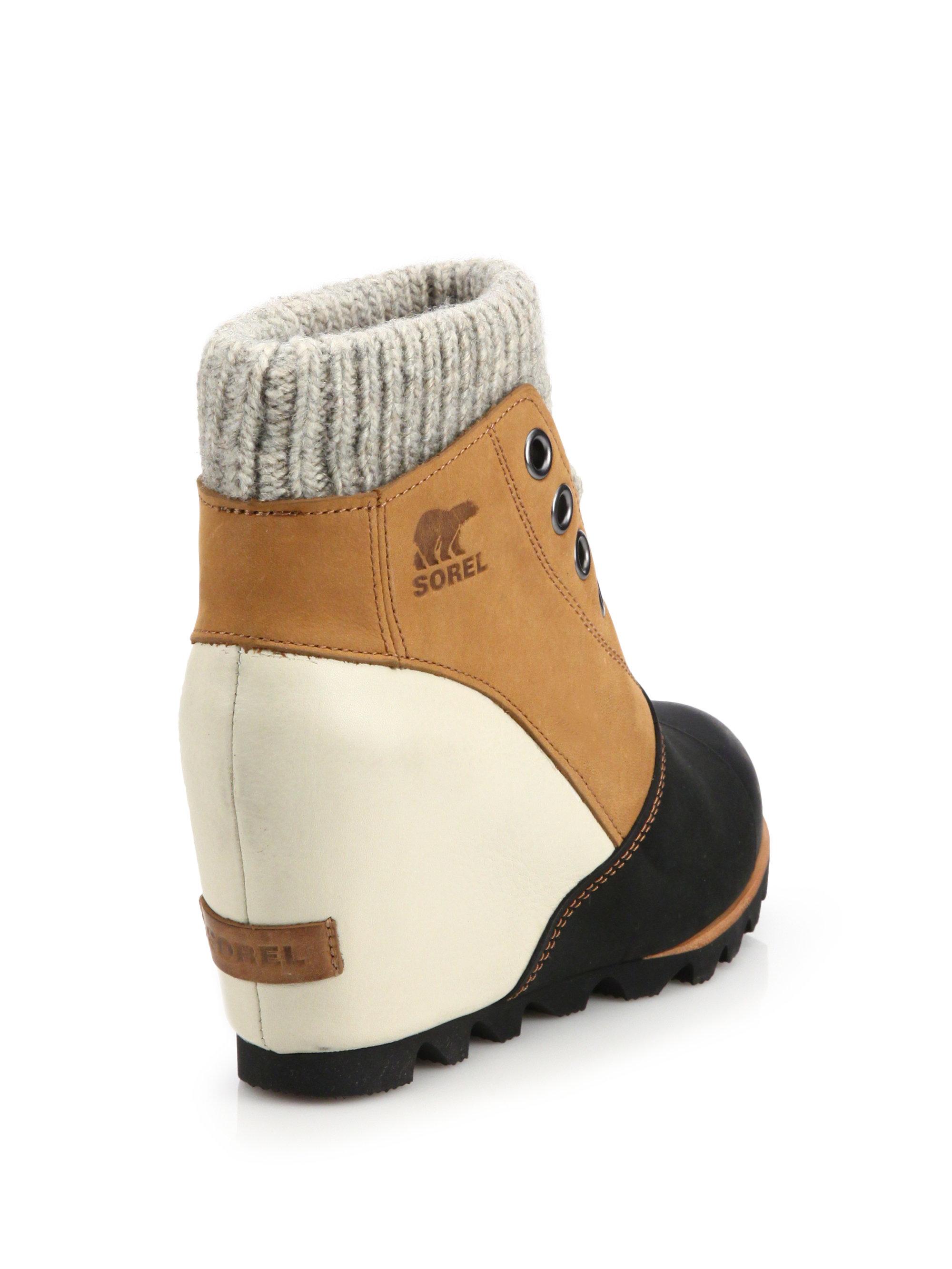 Lyst Sorel Joanie Sweater Leather Wedge Booties