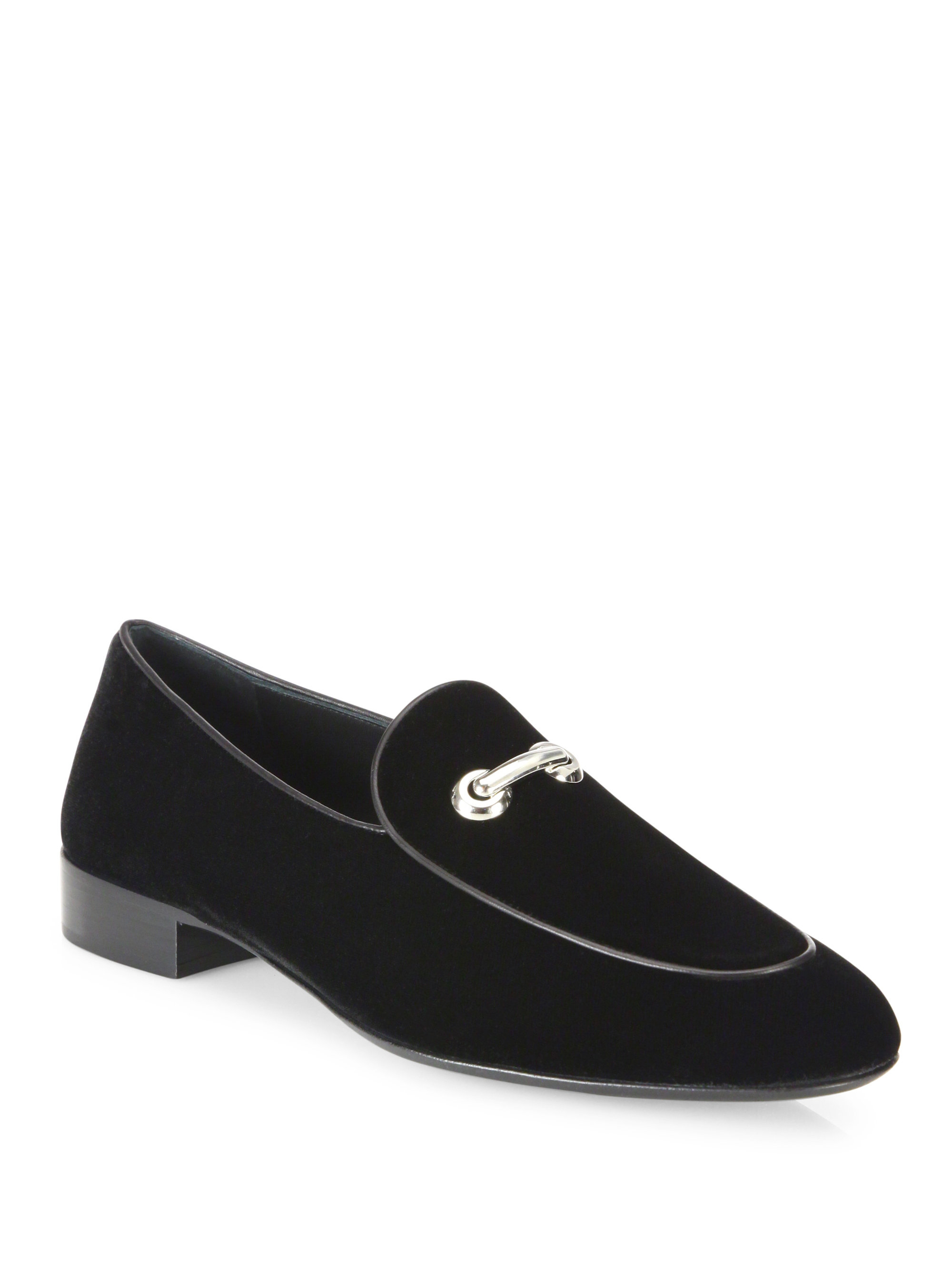 giuseppe zanotti velvet slip on shoes for lyst