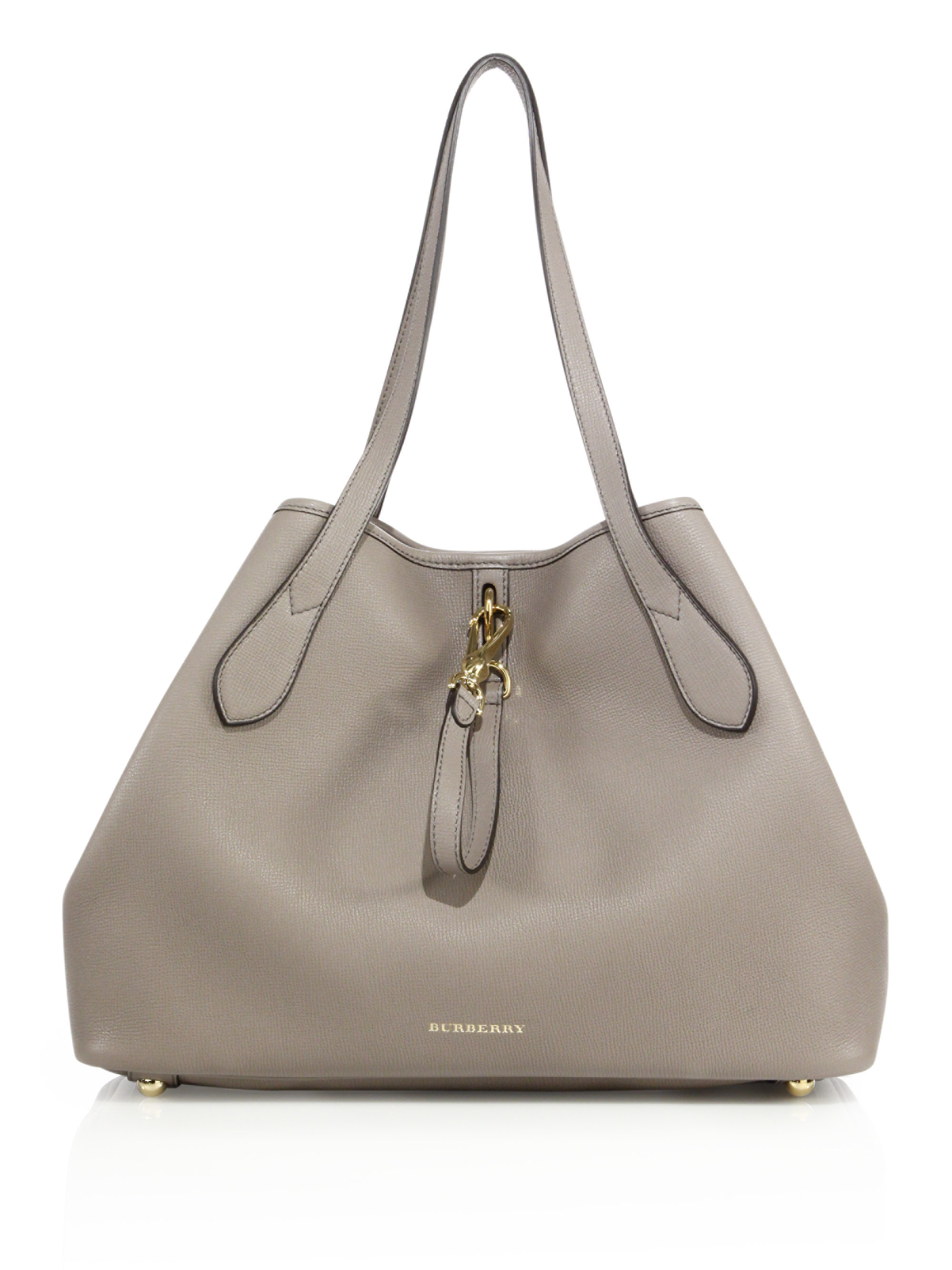 54085dc804fc Lyst - Burberry Honeybrook Medium Derby Leather Tote in Gray