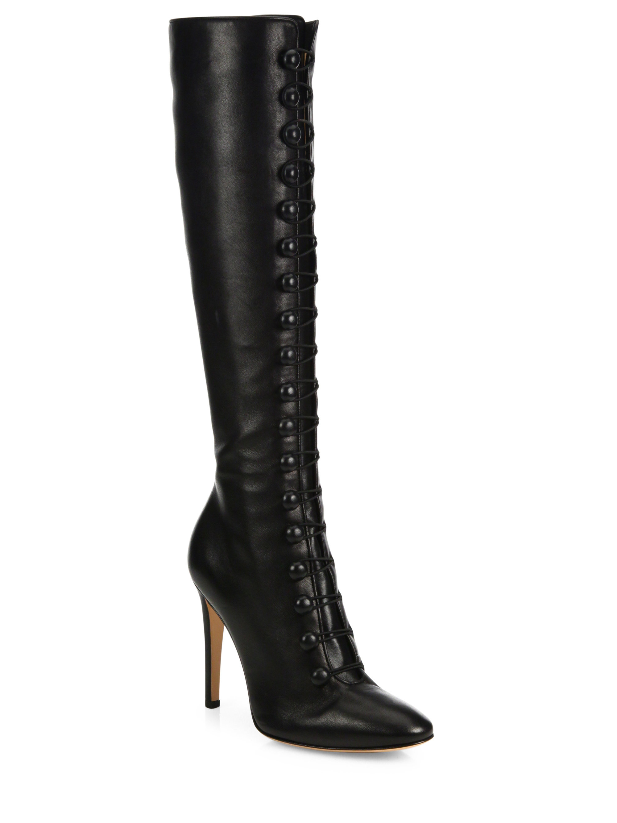 gianvito rossi imperia leather knee high boots in black lyst. Black Bedroom Furniture Sets. Home Design Ideas