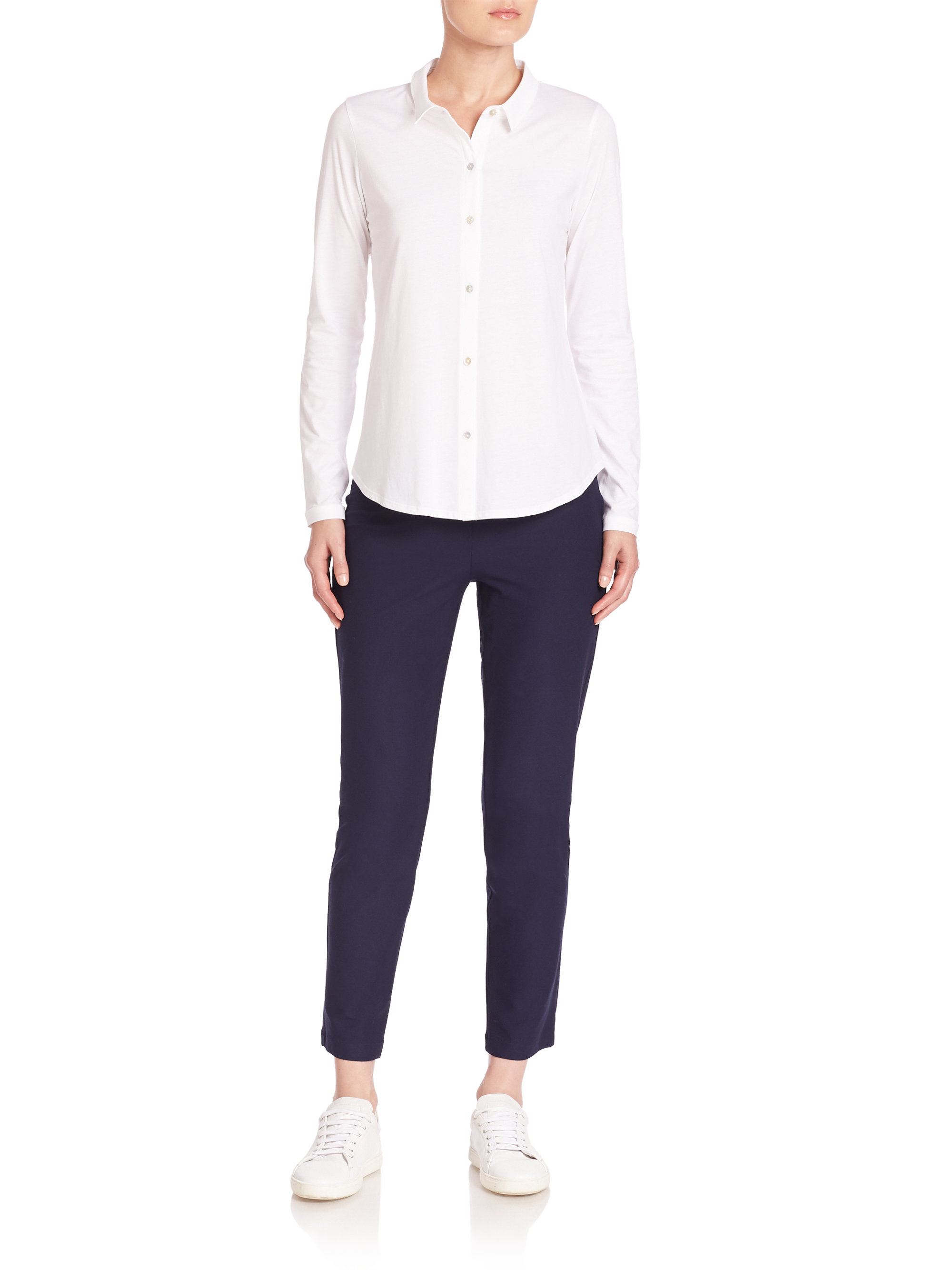 Lyst eileen fisher organic cotton button front shirt in for Organic cotton button down shirts