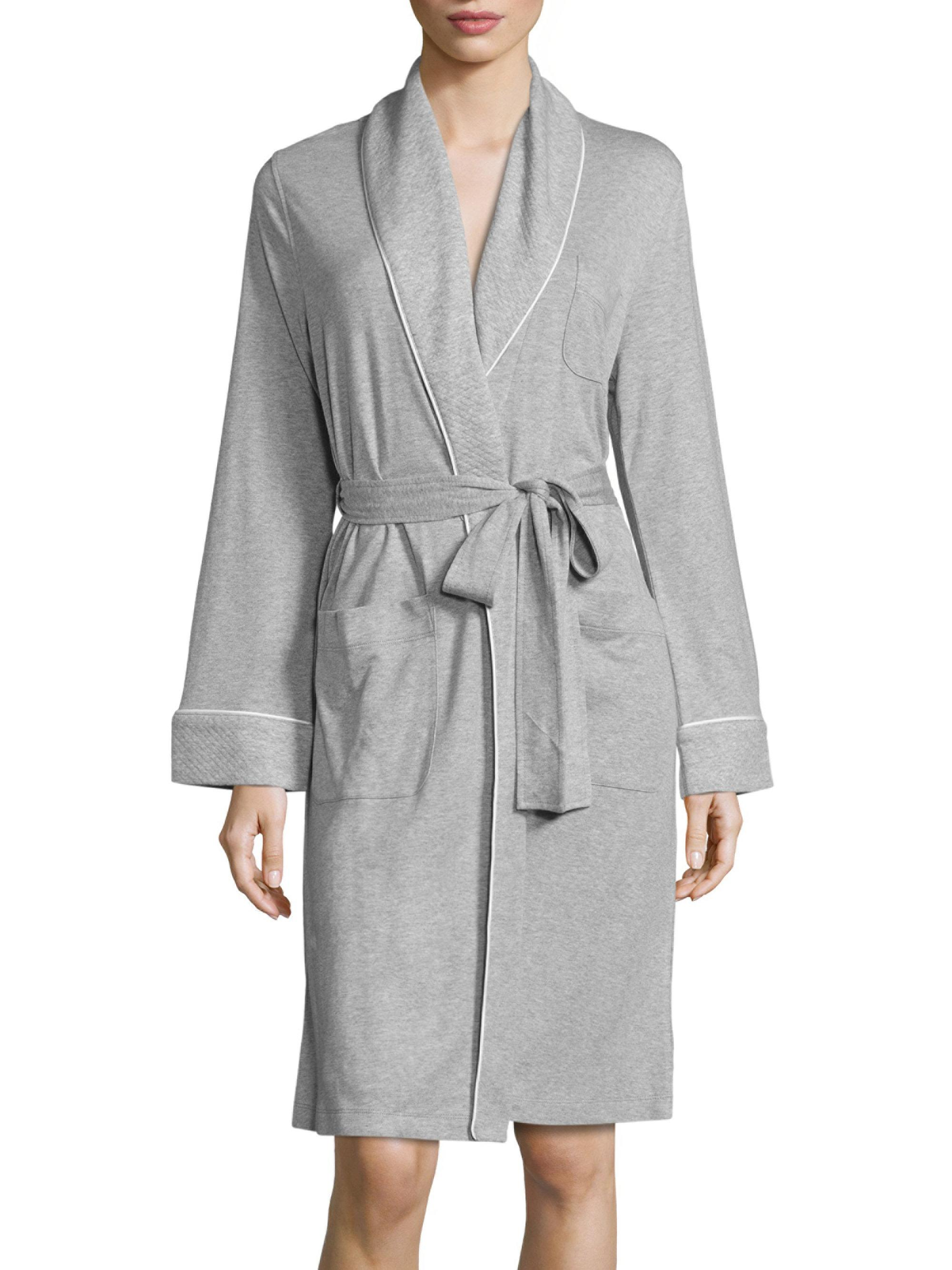 Saks fifth avenue heathered wrap robe in gray lyst for Saks 5th avenue robes de mariage