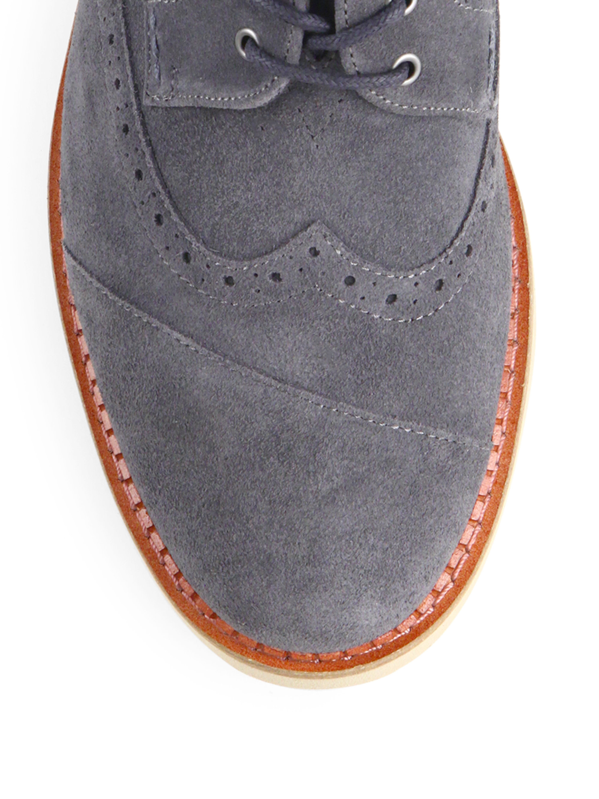 Lyst Toms Suede Brogue Lace Up Shoes In Gray For Men
