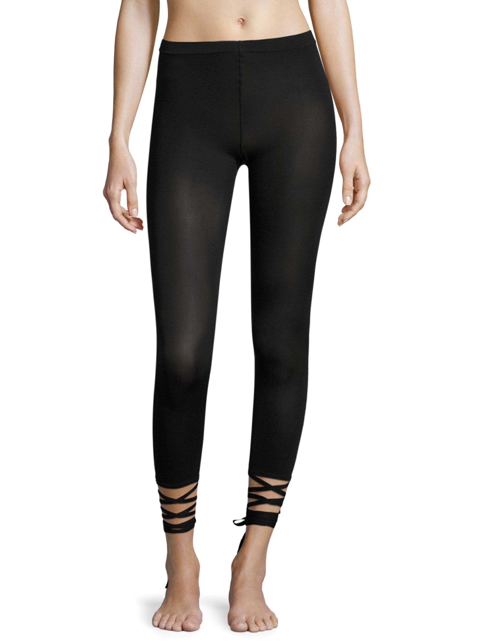 Wolford Lace-up Capri Leggings in Black | Lyst