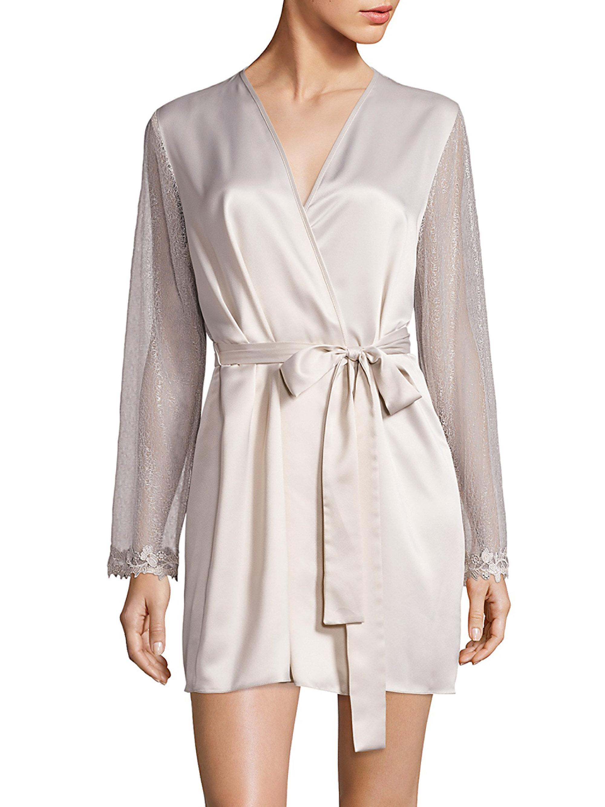 Lyst flora nikrooz showstopper venise lace robe for Saks 5th avenue robes de mariage