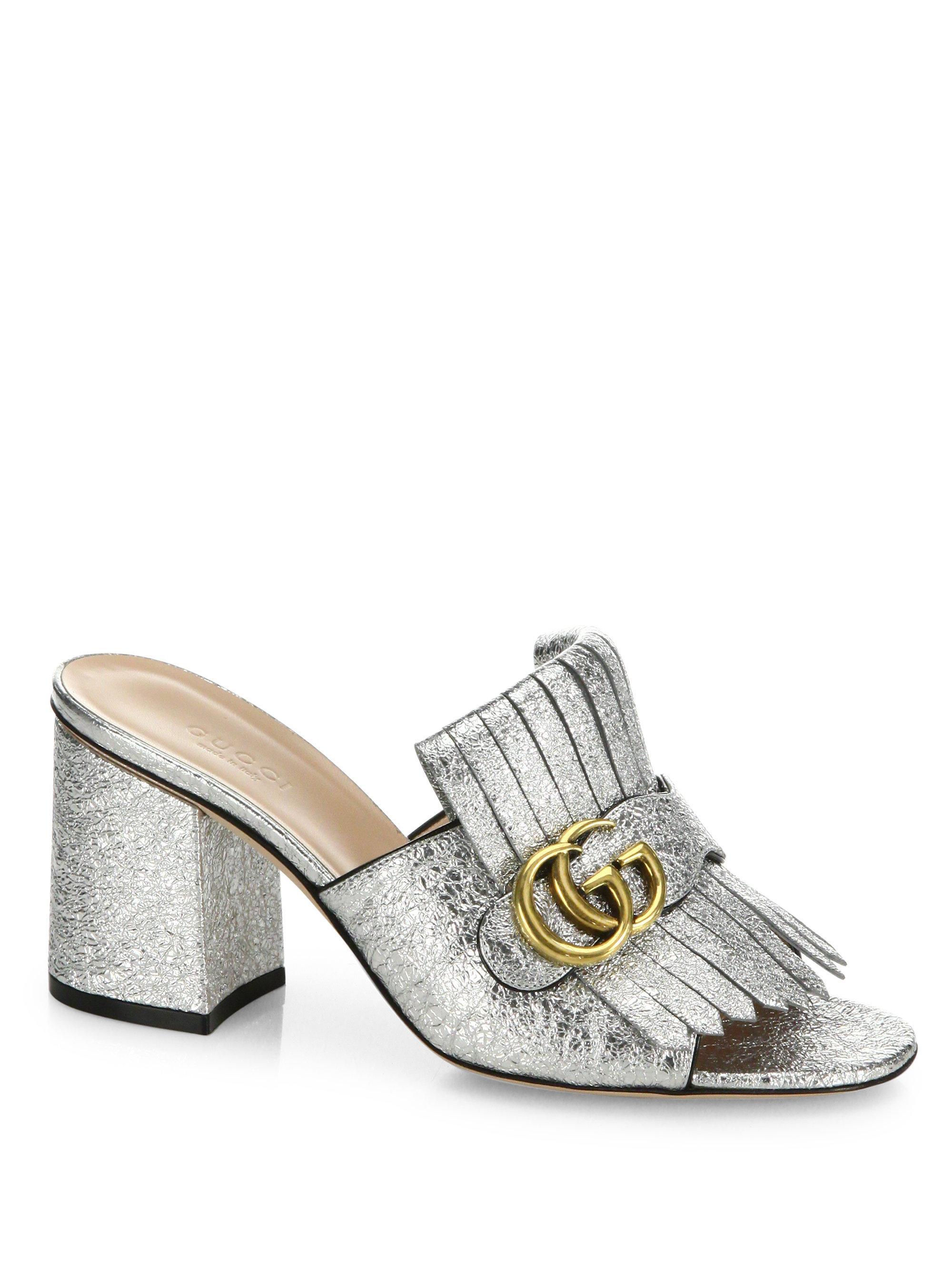 Lyst Gucci Marmont Gg Kiltie Metallic Leather Block Heel