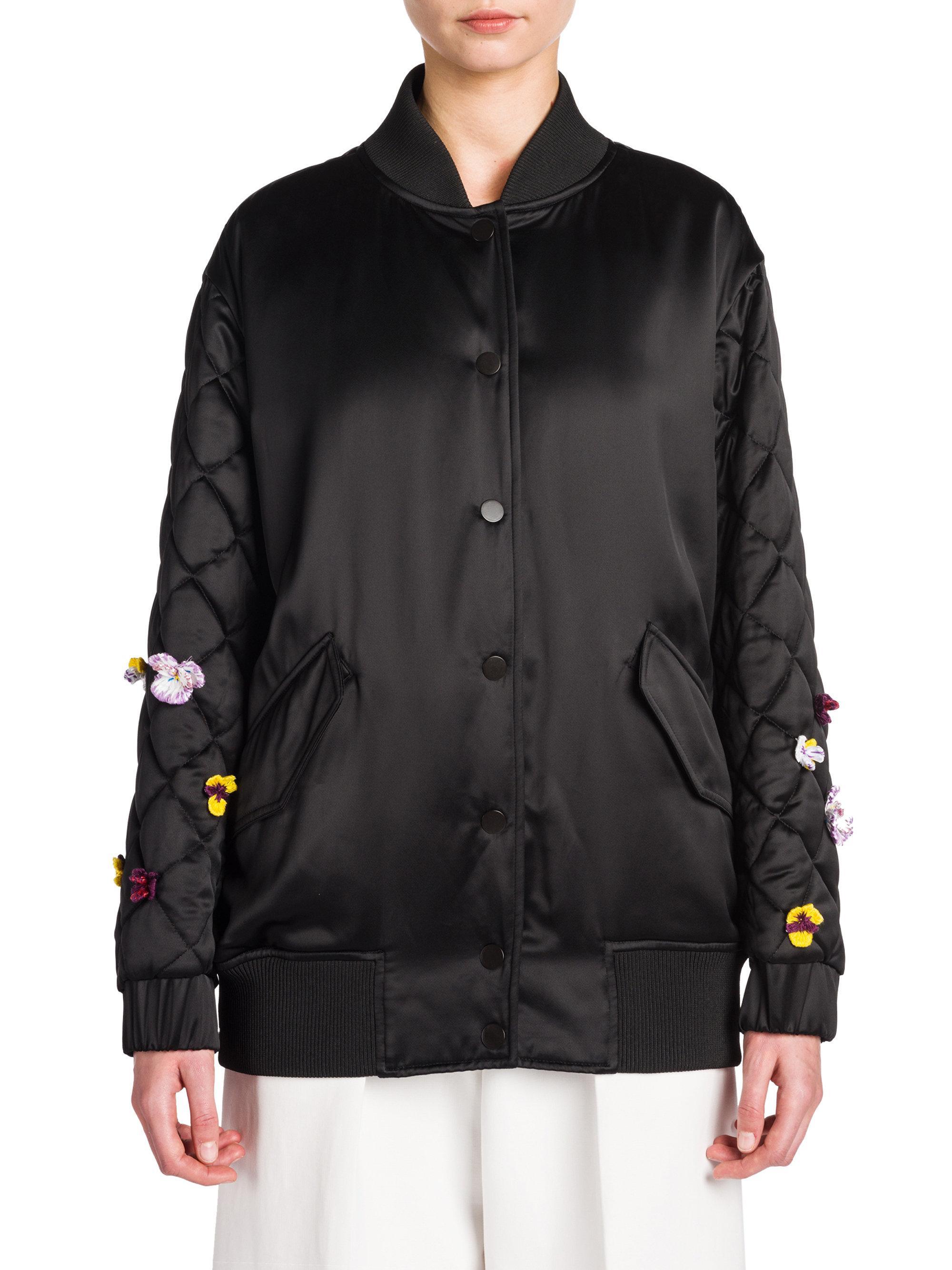 Fendi Emroidered Satin Bomber Jacket in Black